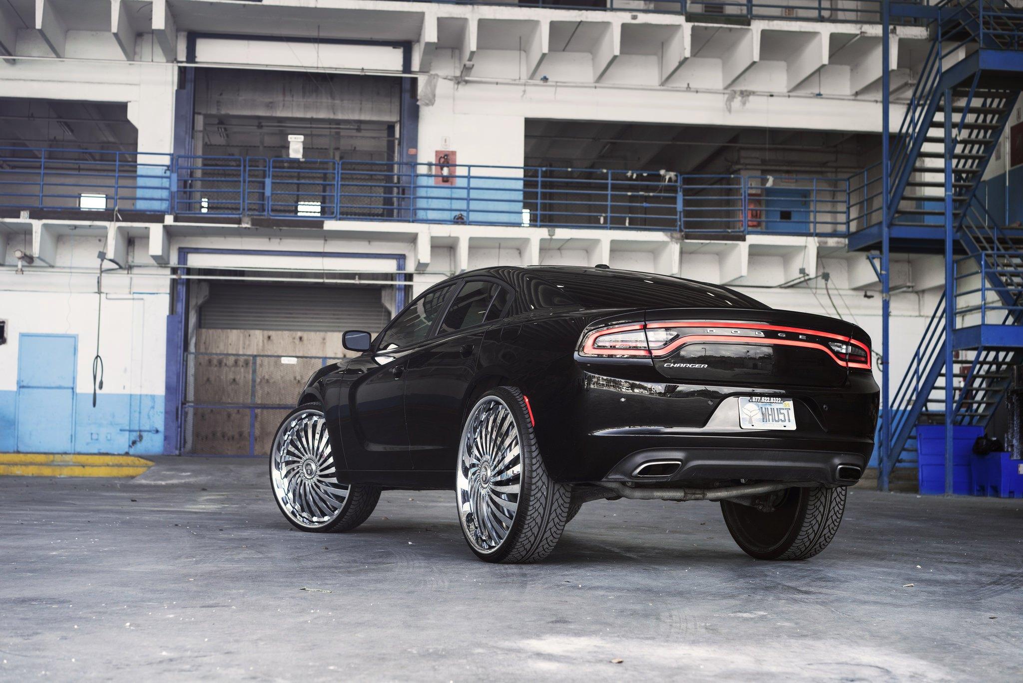 Mean Black Dodge Charger On Huge Aftermarket Wheels  U2014 Carid Com Gallery