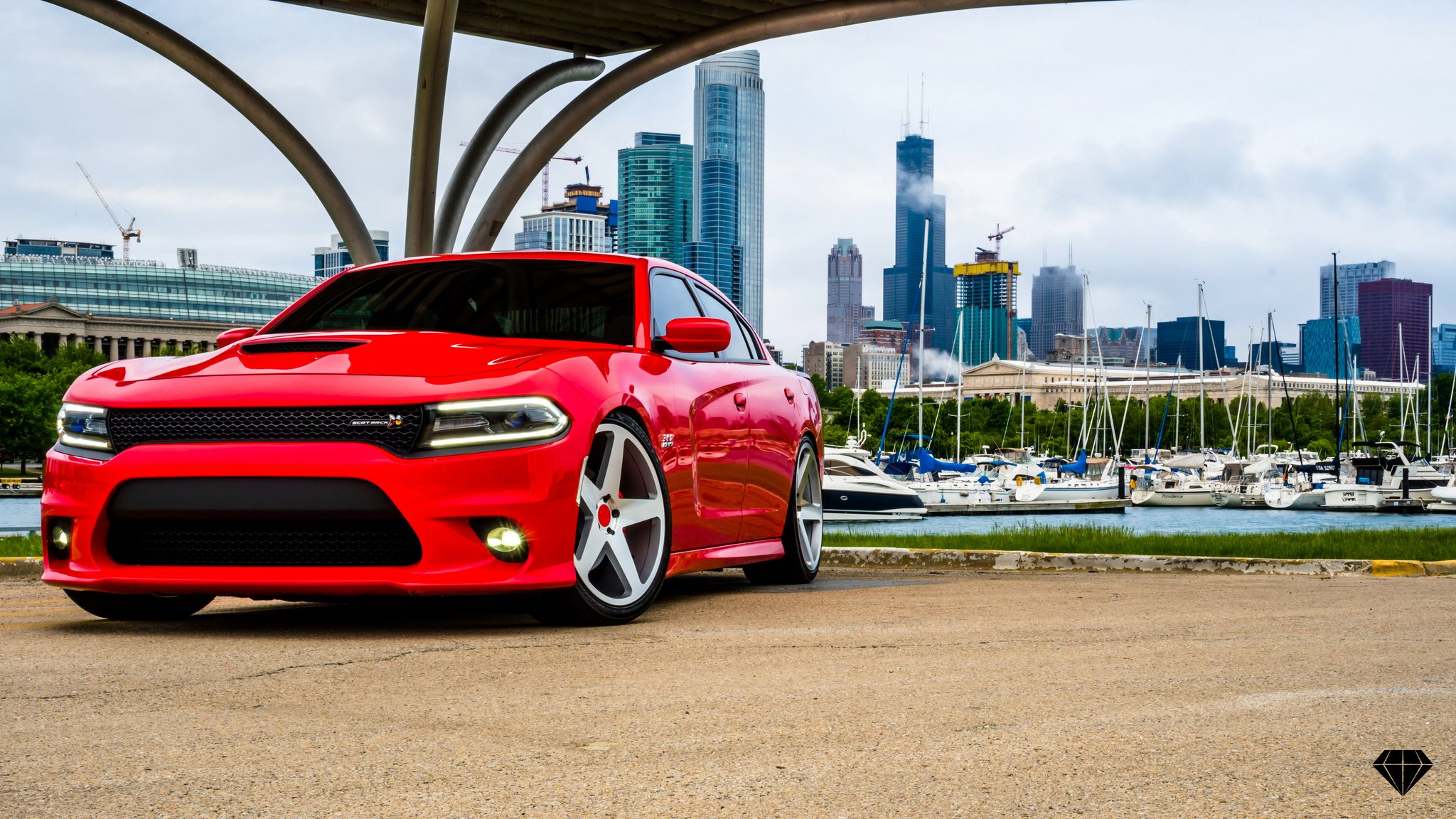 Exotic Red Dodge Charger Sitting On Blaque Diamond Wheels With Color Matching Center Caps Carid Com Gallery
