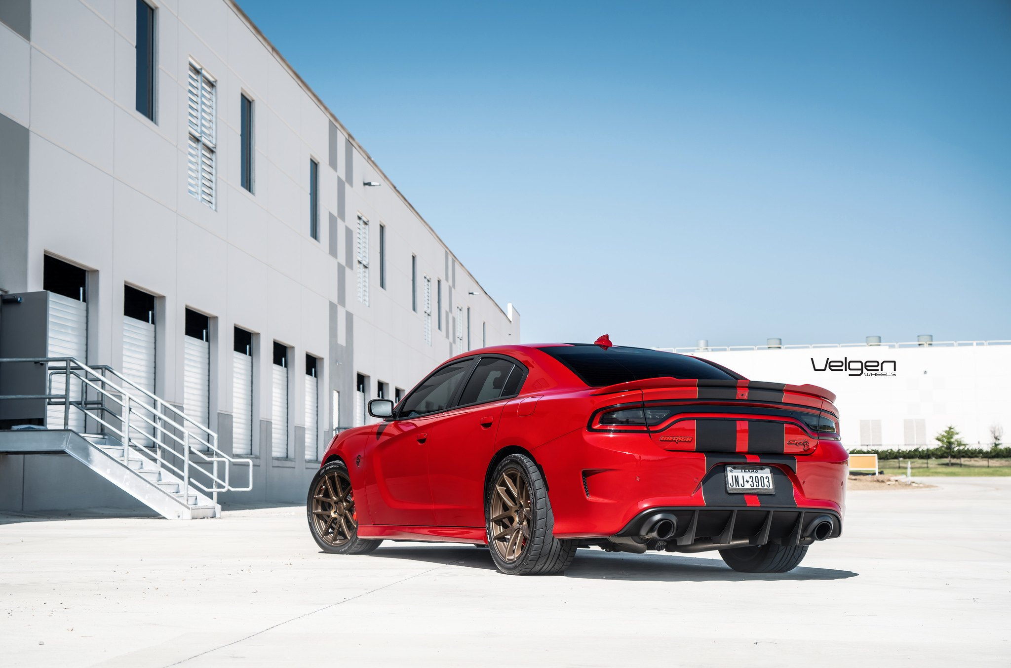 Red Dodge Charger Srt Goes Racy With Custom Rims And Black Stripes  U2014 Carid Com Gallery