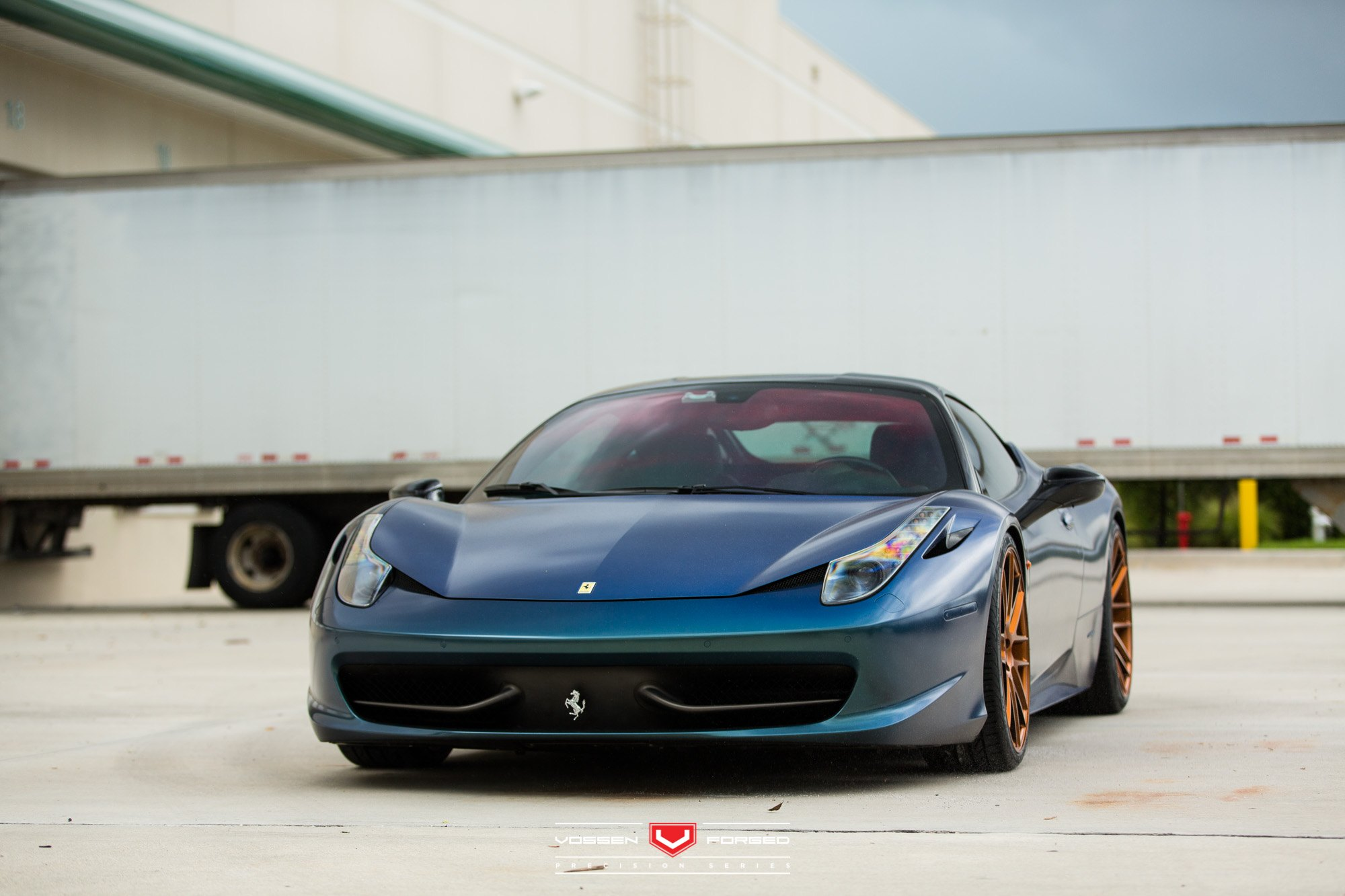 custom painted blue pearl: ferrari 458 fitted with accessories