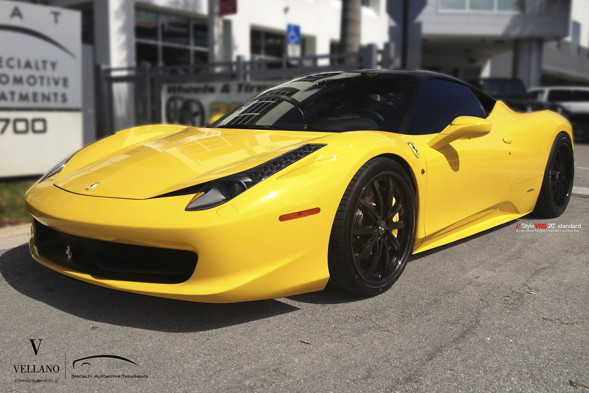 Black And Yellow Yellow Ferrari 458 Sitting On Black Vellano Wheels With Yellow Brakes Carid Com Gallery