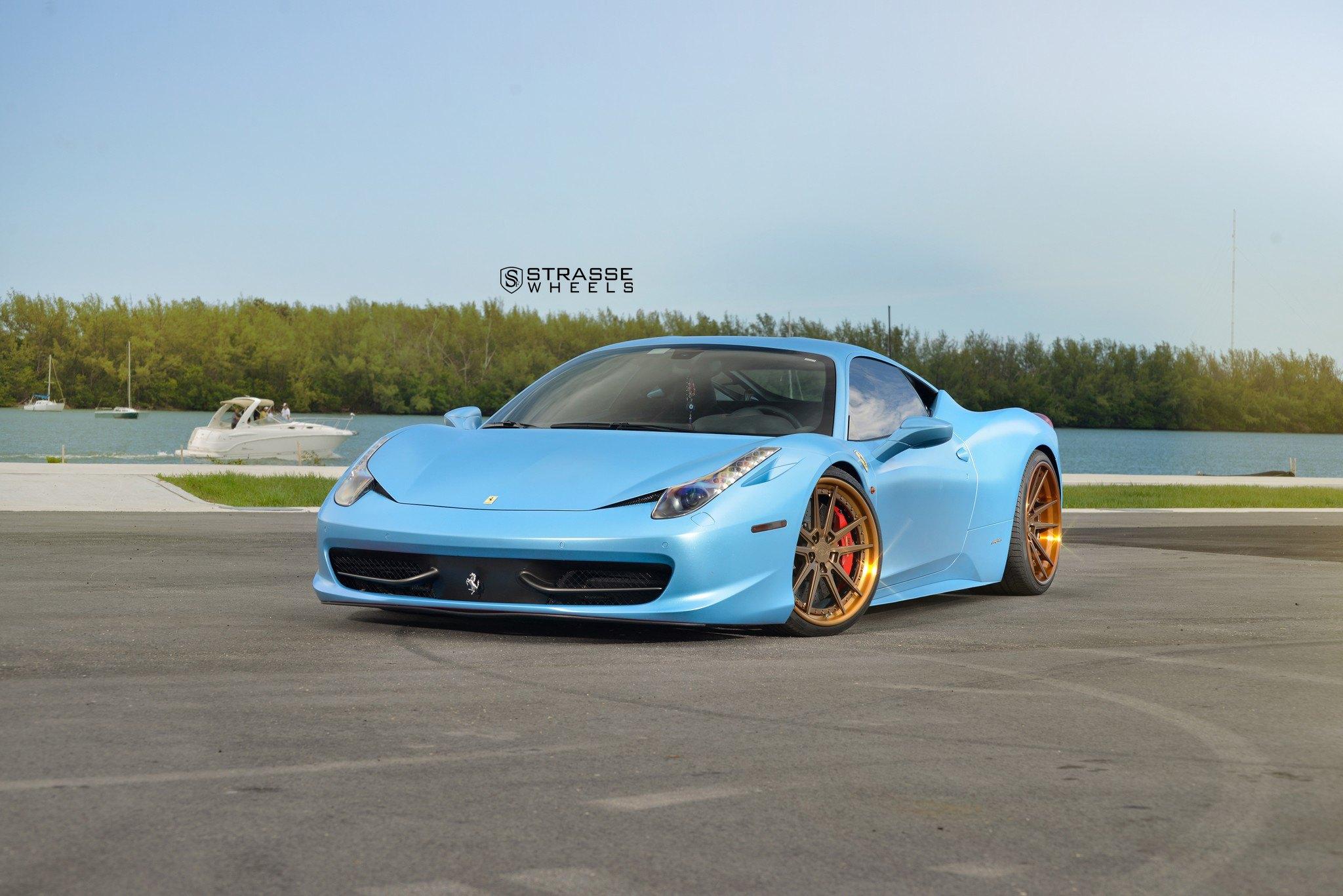 Stylish Thing: Custom Matte Baby Blue Ferrari 458 on Golden Bronze