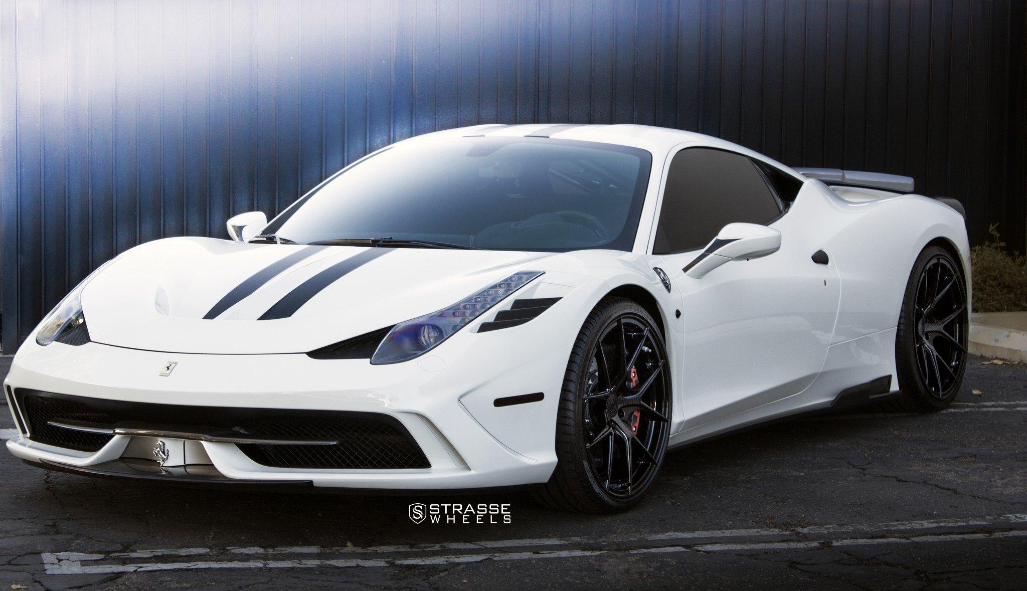 Custom White Ferrari 458 Gets Black Stripes and Carbon ...