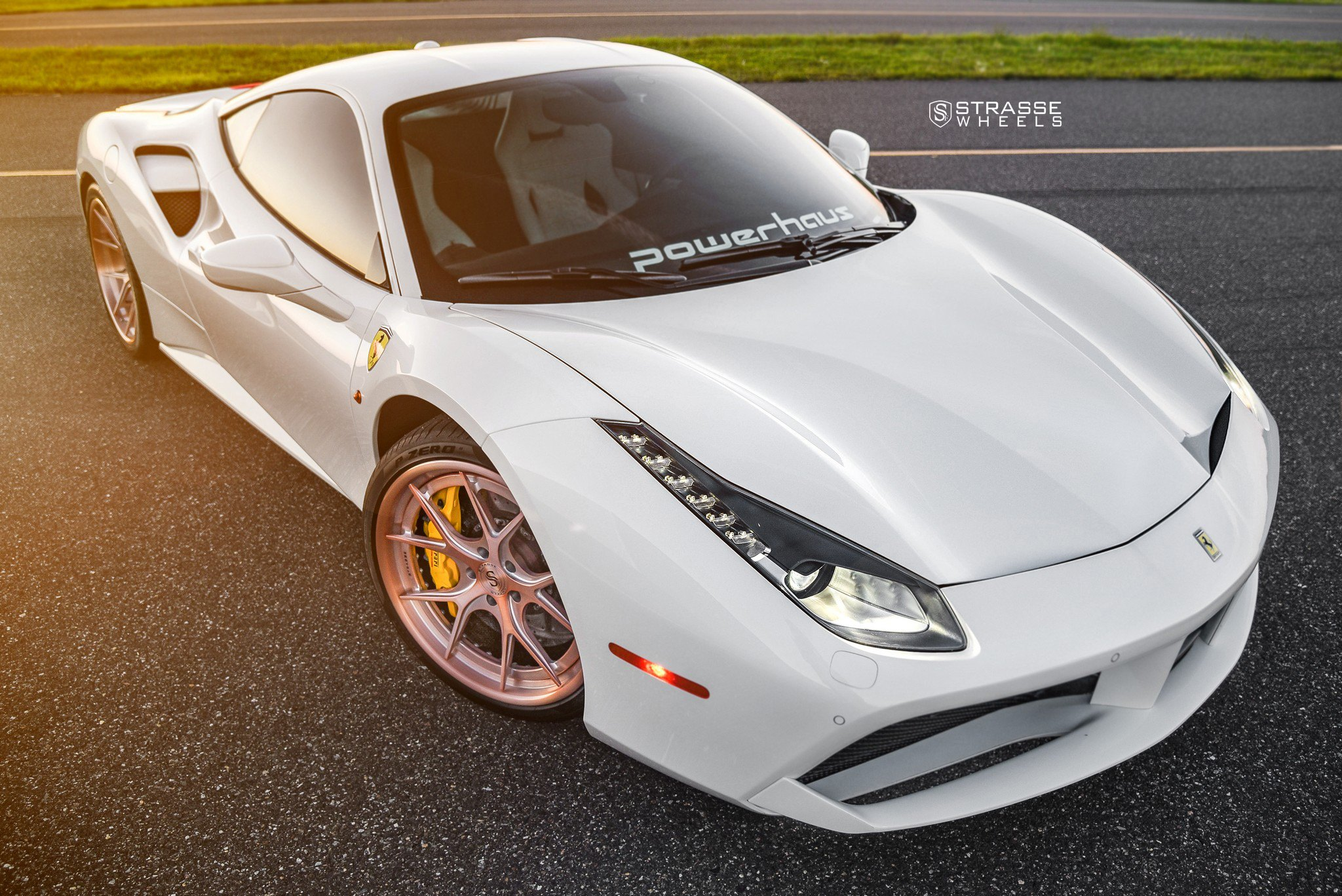 White Ferrari 488 With Crystal Clear LED Headlights   Photo By Strasse  Forged