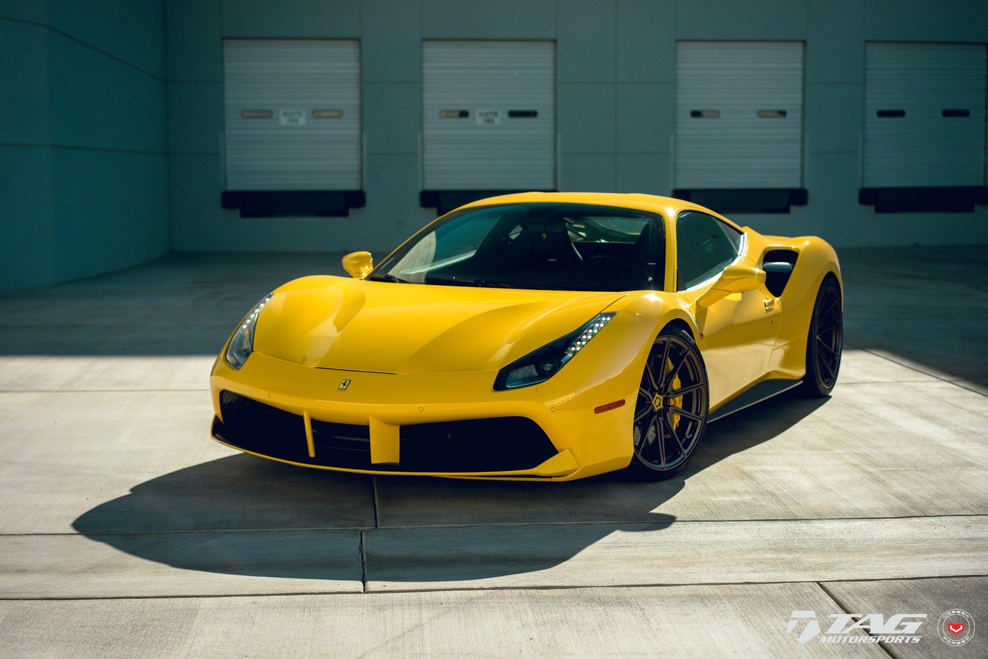 yellow ferrari 488 updated with stylish vossen rims carid com gallery