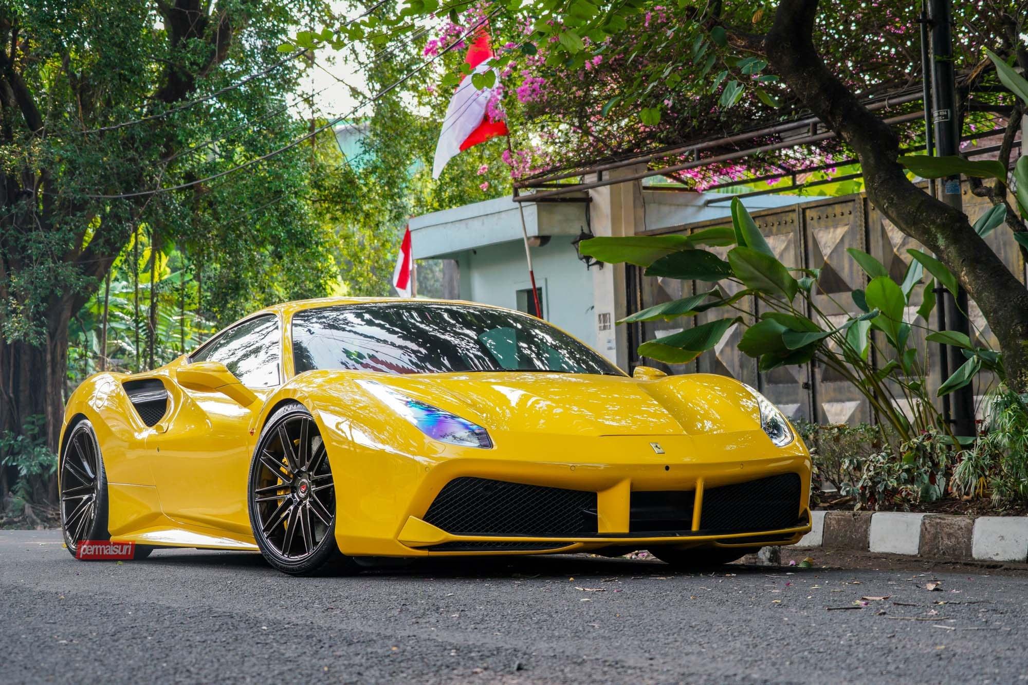 customized yellow ferrari 488 wearing forged vps vossen rims carid