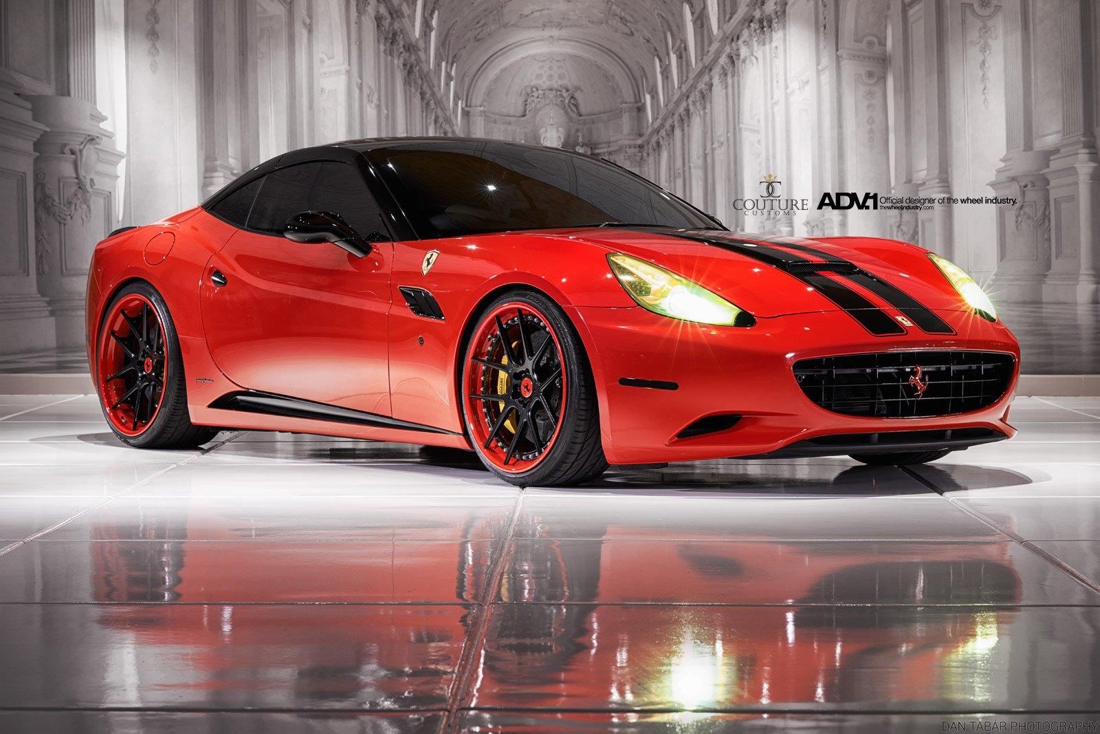 Bright Red Ferrari California With Black Competition ...