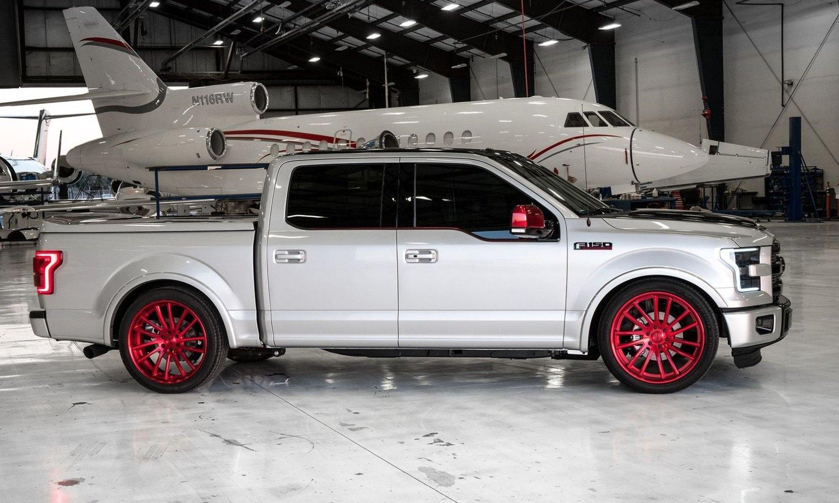 Lowered Black Top Ford F150 On Red Custom Wheels Carid Com Gallery