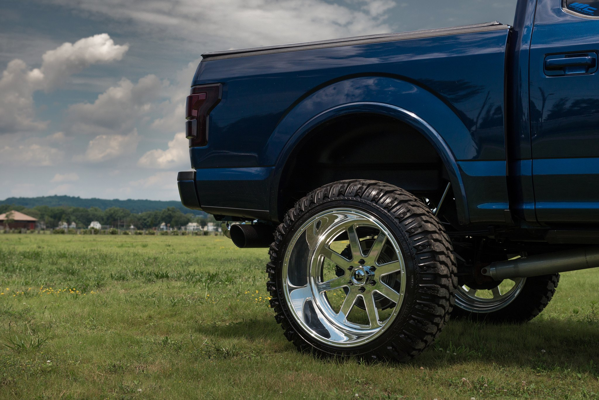 Reworked Ford F150 Truck With A Massive Lift And Chrome Fuel