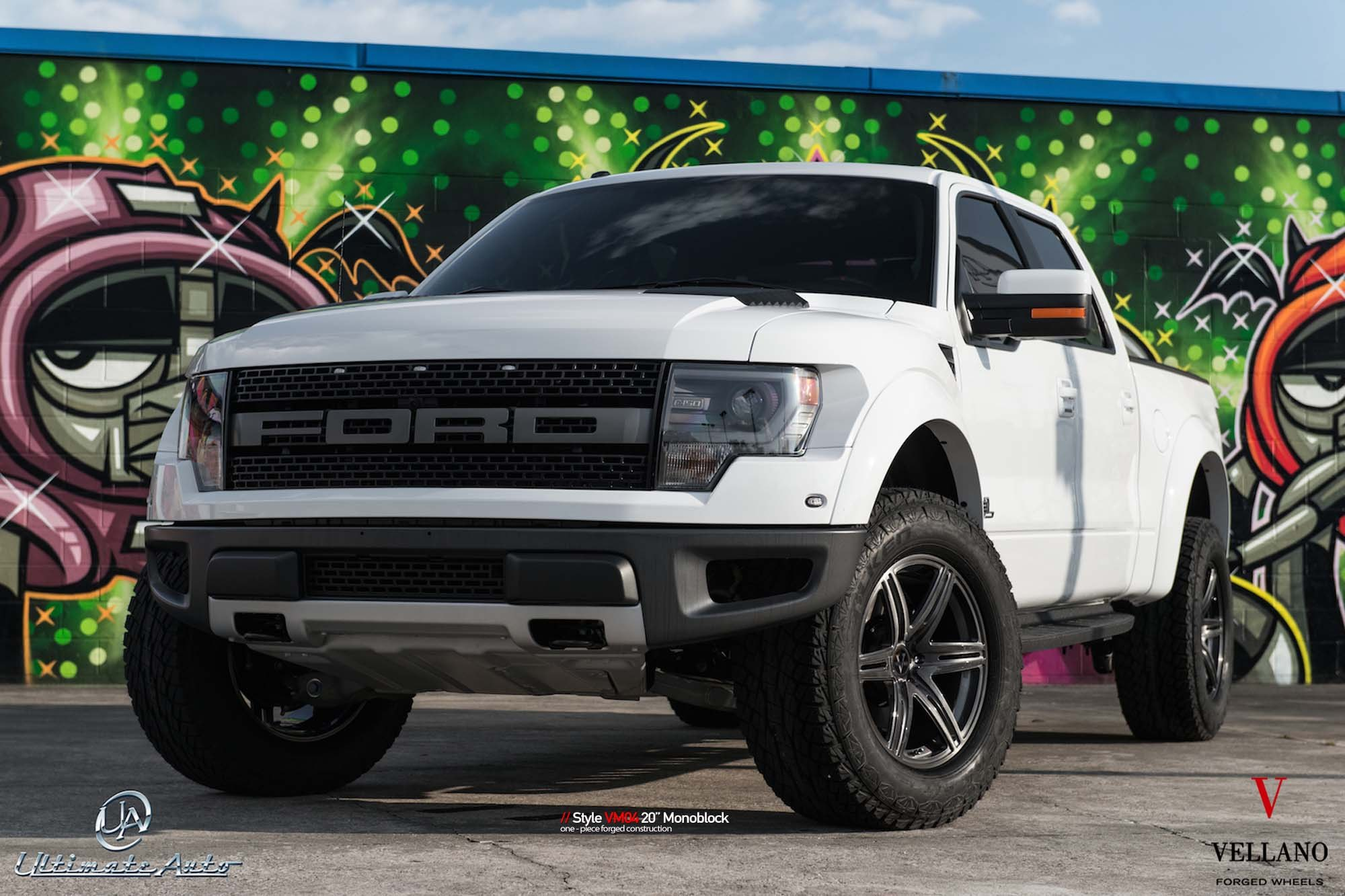 Custom White Lifted Ford F-150 - Photo by Vellano
