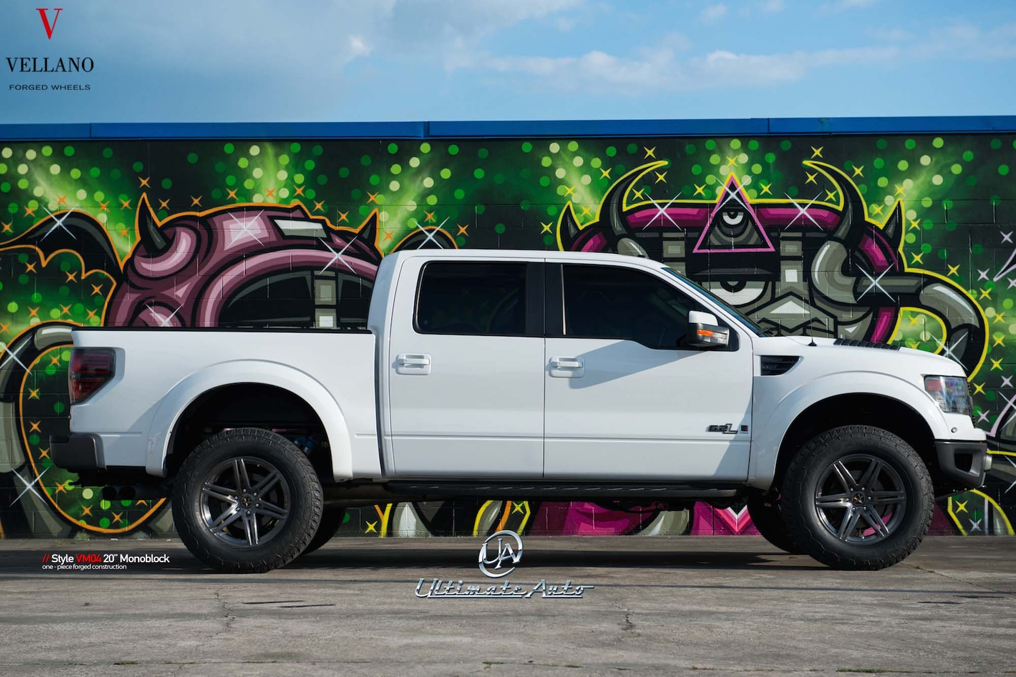 White Ford F-150 6.2L with Aftermarket Running Boards - Photo by Vellano
