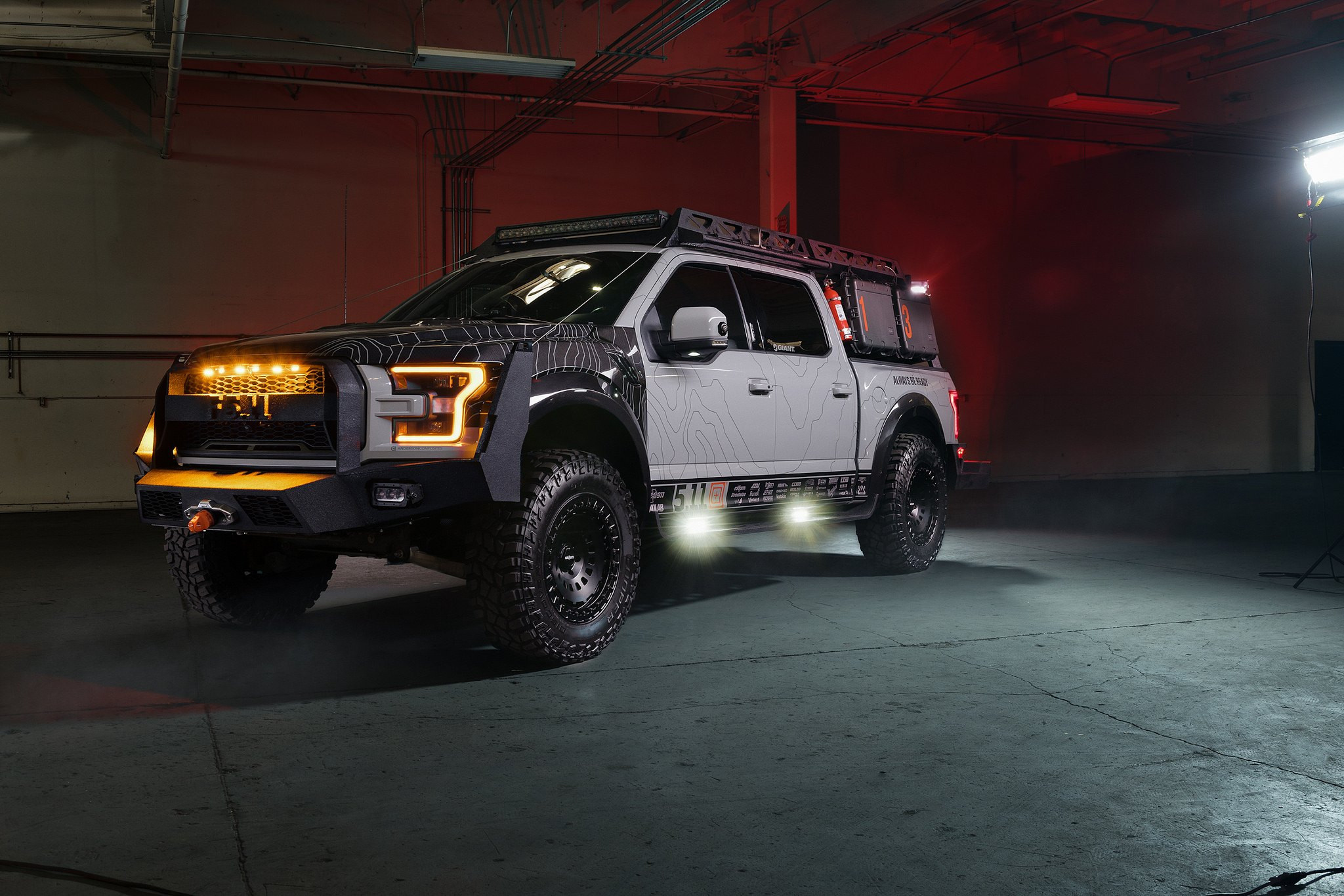 Gray Ford Raptor with Bed Mount Expedition Rack - Photo by Rotiform
