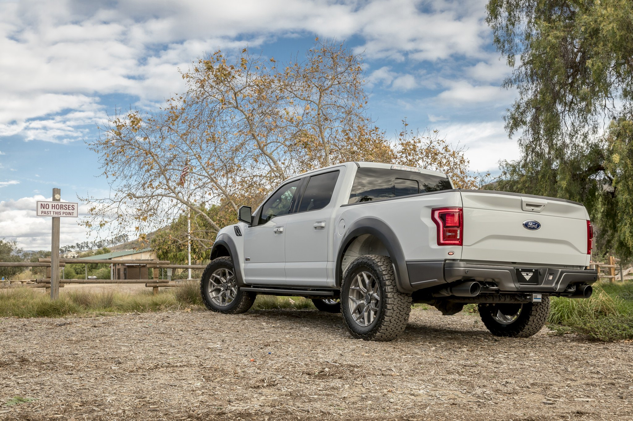 Aftermarket Rear Bumper on Gray Lifted Ford F-150 - Photo by Vorsteiner