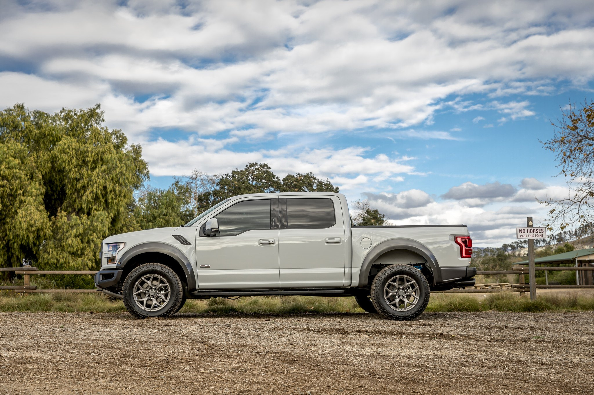 Gray Lifted Ford F-150 with Custom Running Boards - Photo by Vorsteiner