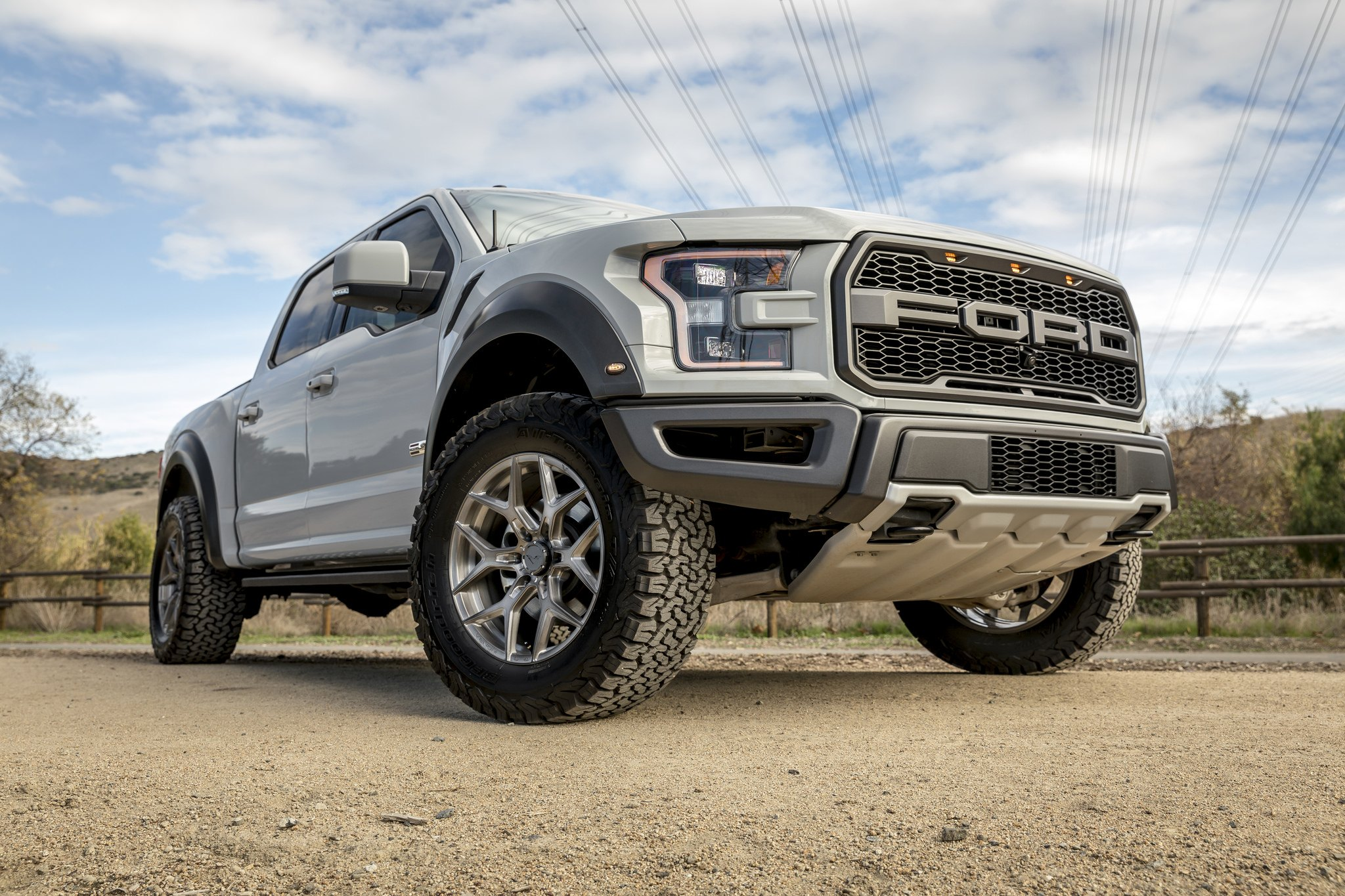 Aftermarket Front Bumper Guard on Gray Lifted Ford F-150 - Photo by Vorsteiner