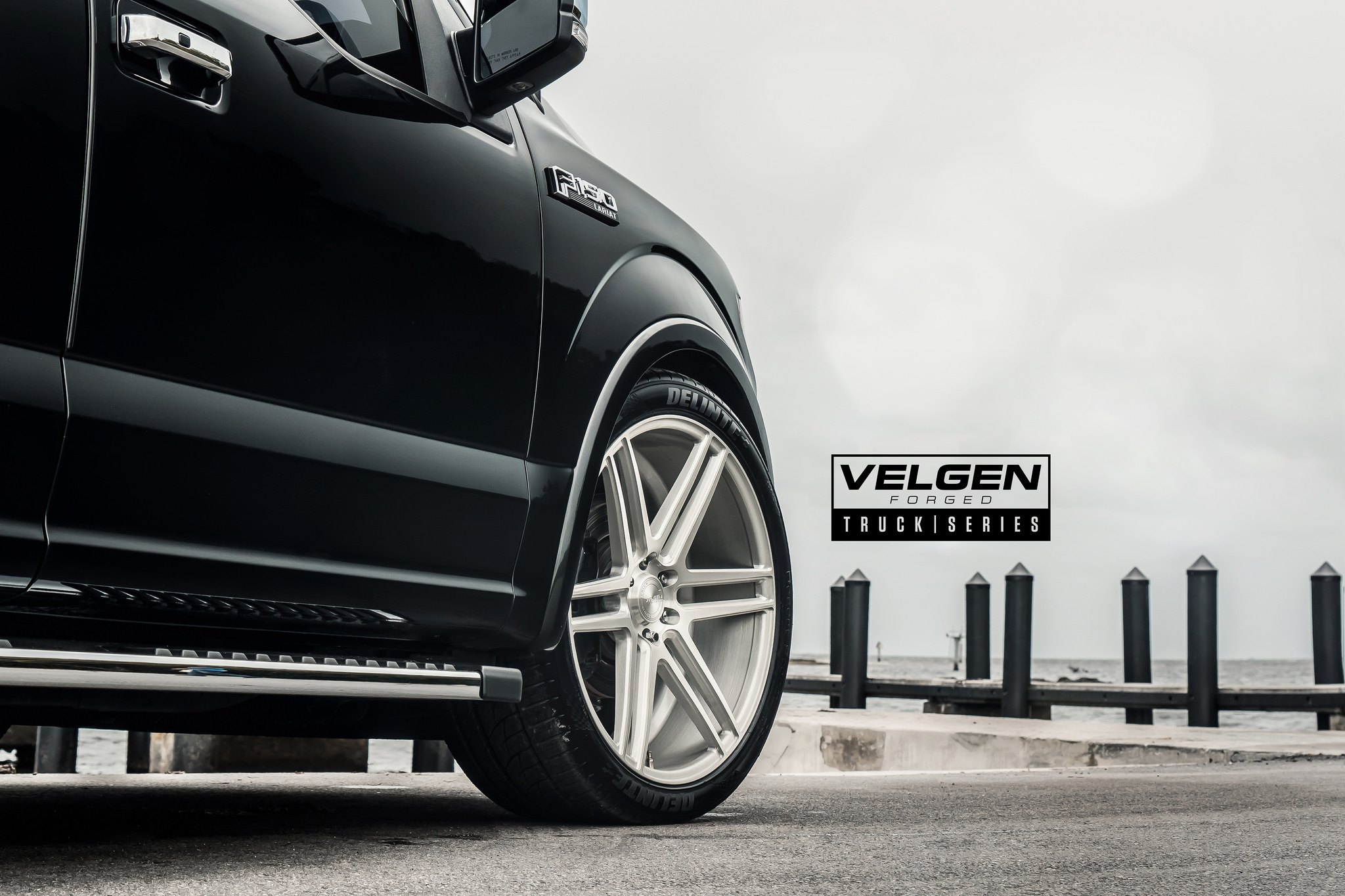 Delinte Tires on Black Ford F-150 Lariat - Photo by Velgen