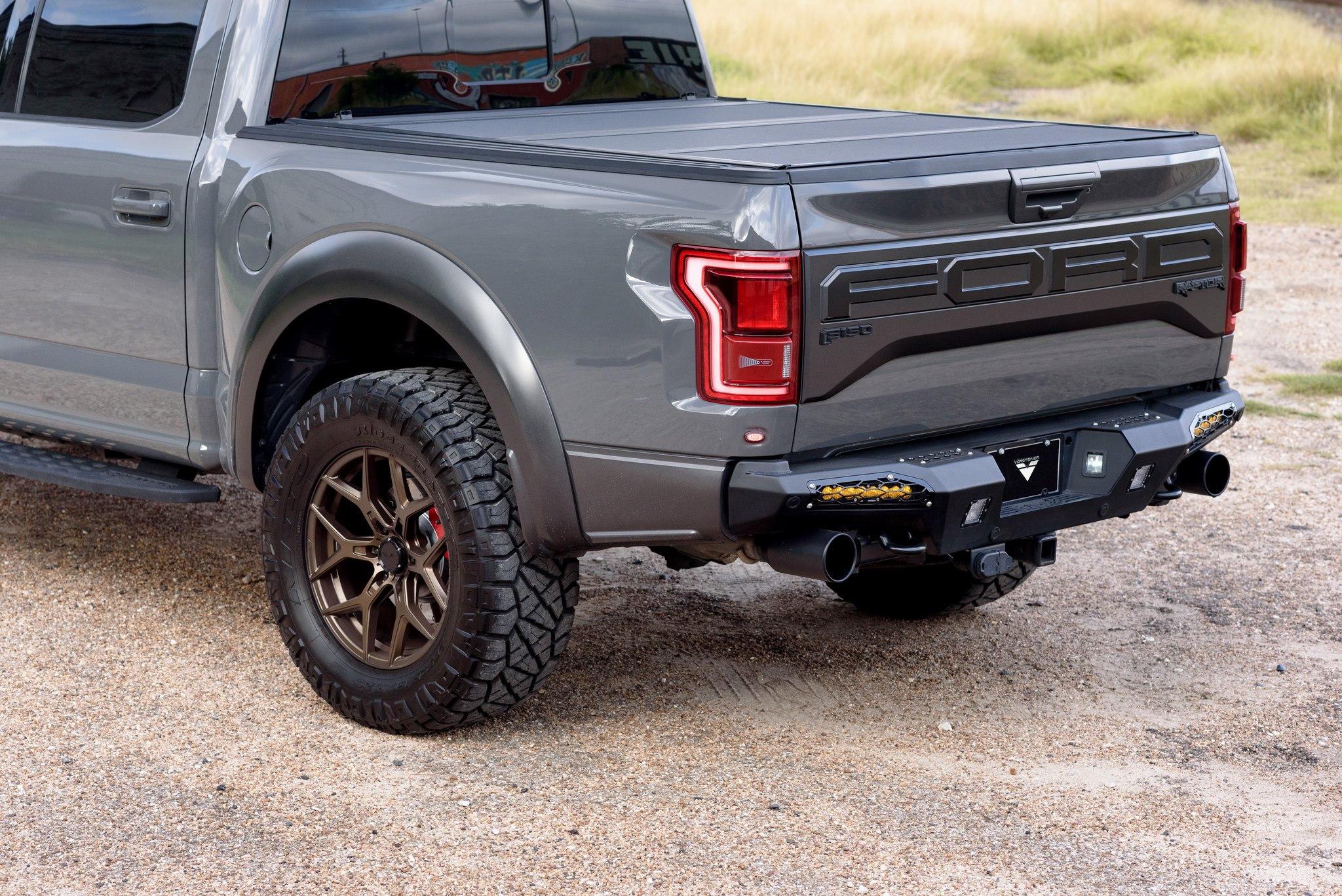 Gray Ford F-150 Raptor with Custom Red LED Taillights - Photo by Venom Rex