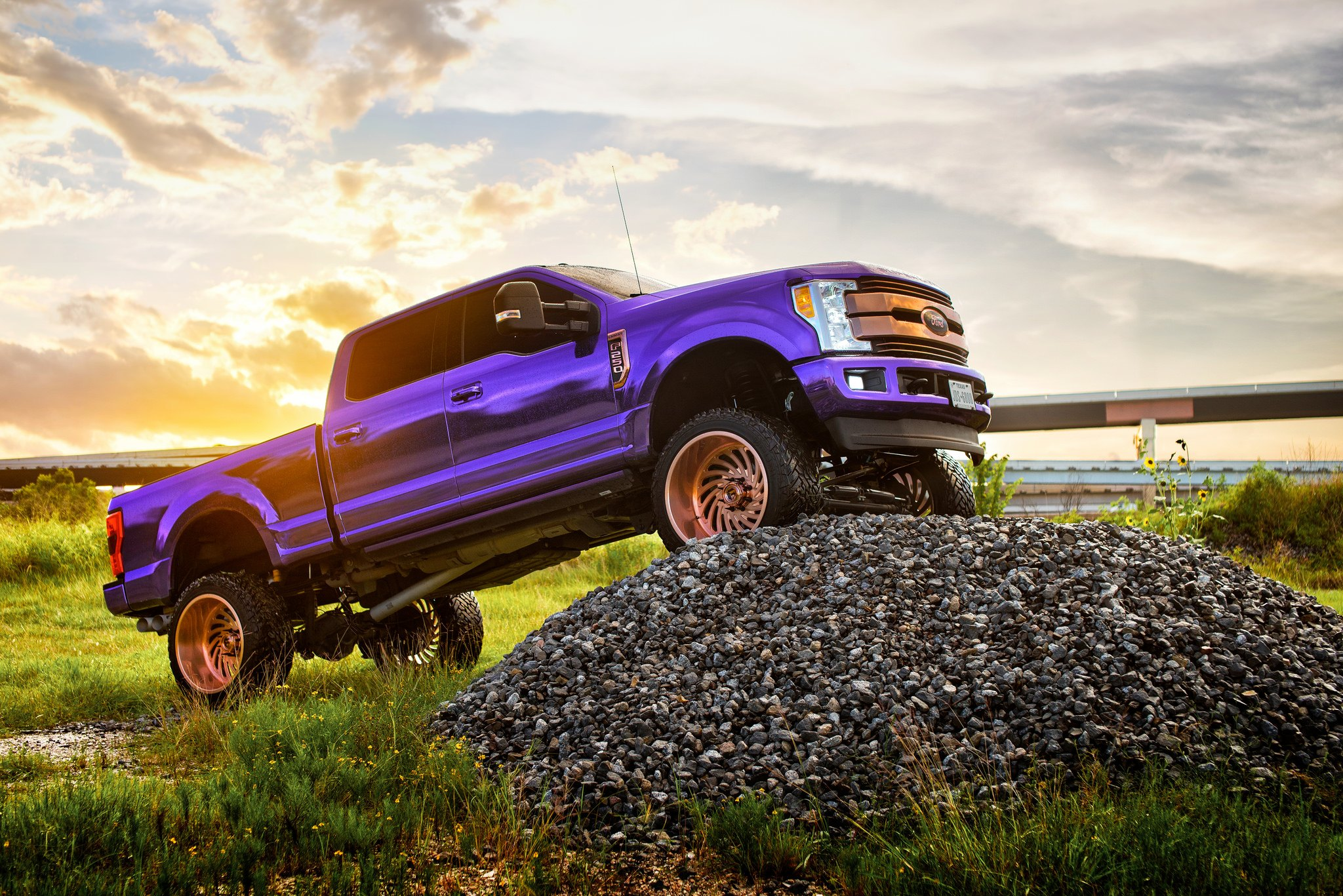 Purple Madness Lifted Ford F250 With Fuel Wheels And