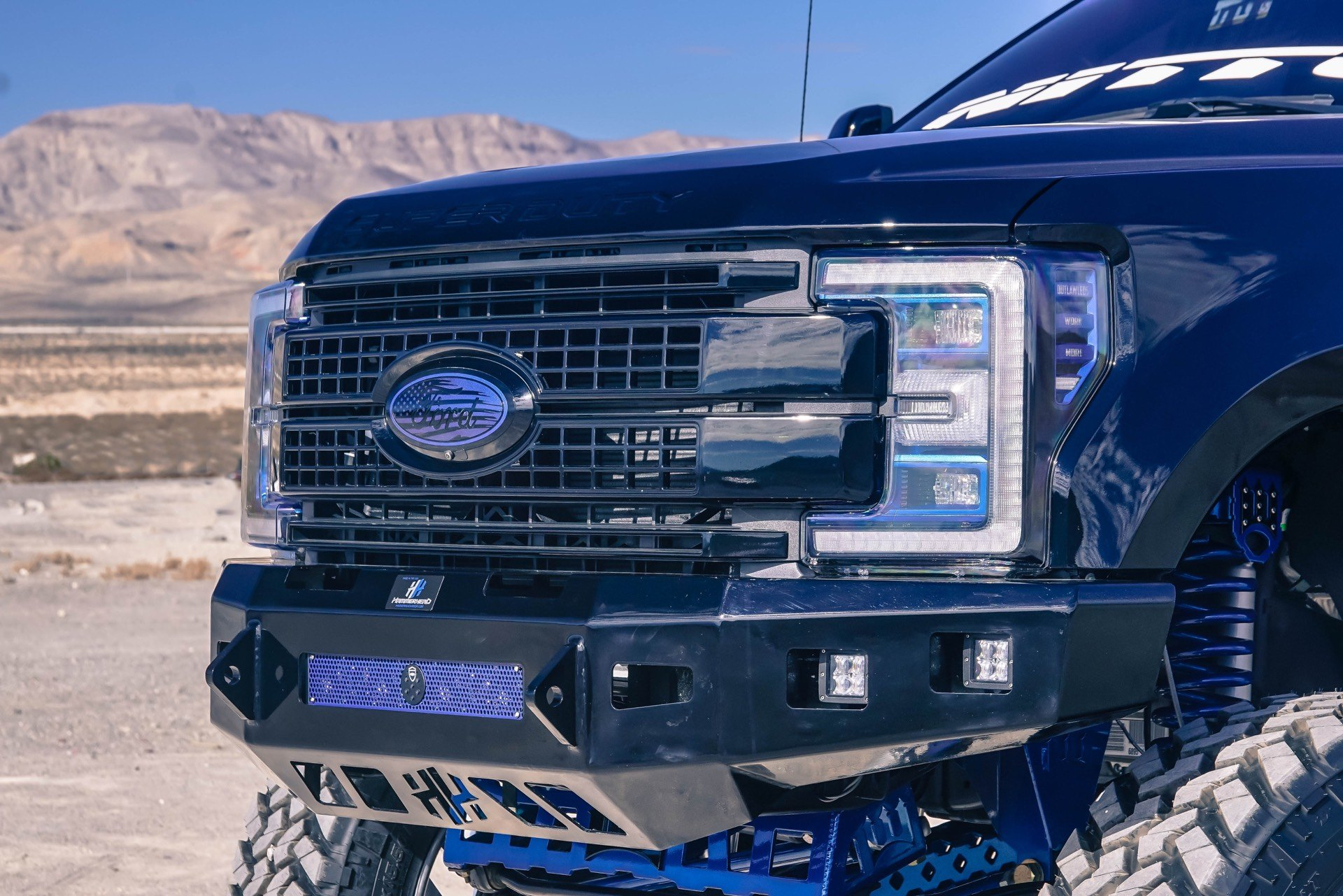 Off-Road Front Bumper on Black Lifted Ford F-350 - Photo by TIS Wheels