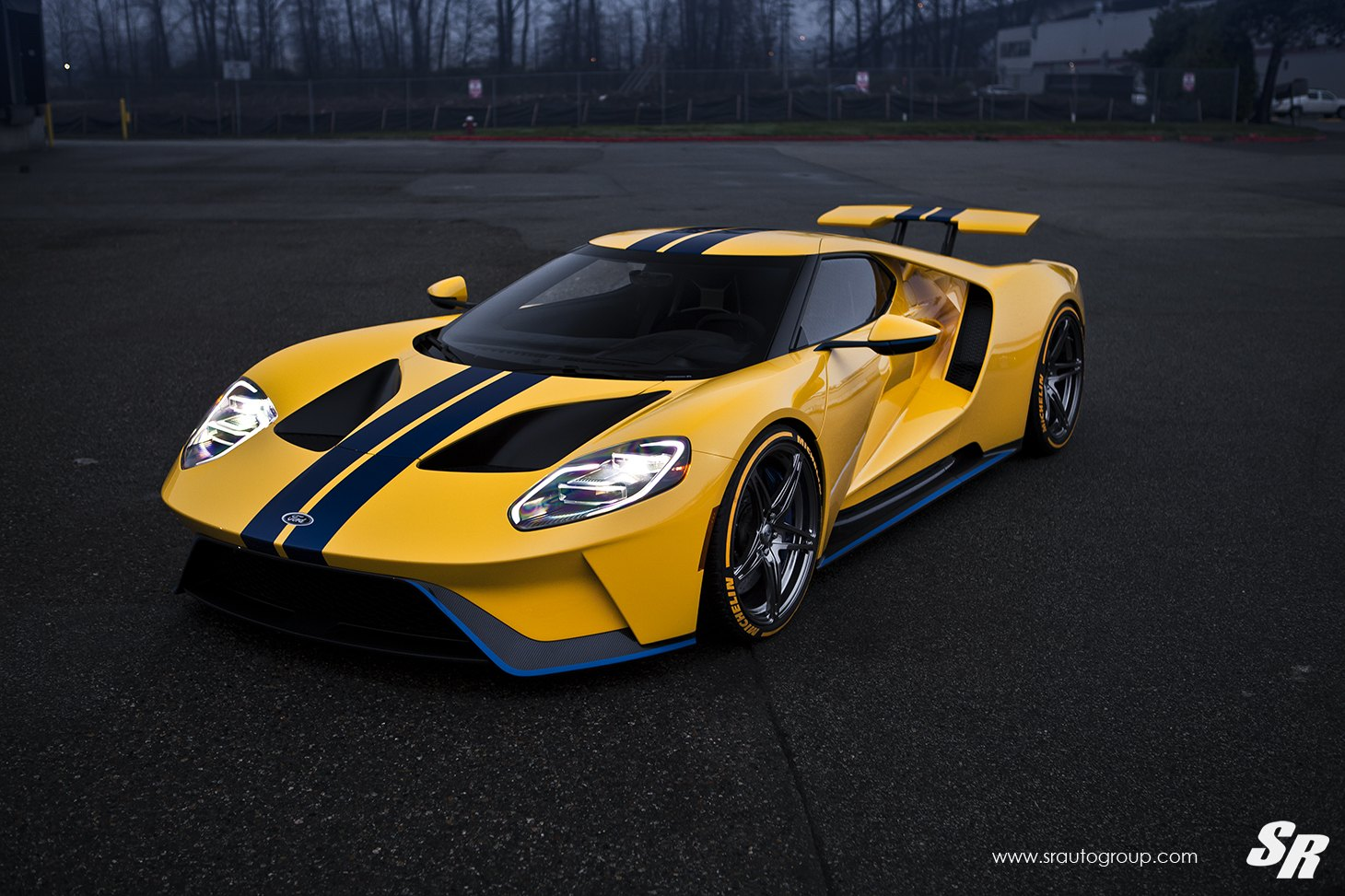 Custom U Bar Style Headlights On Yellow Ford Gt Photo By Sr Auto Group