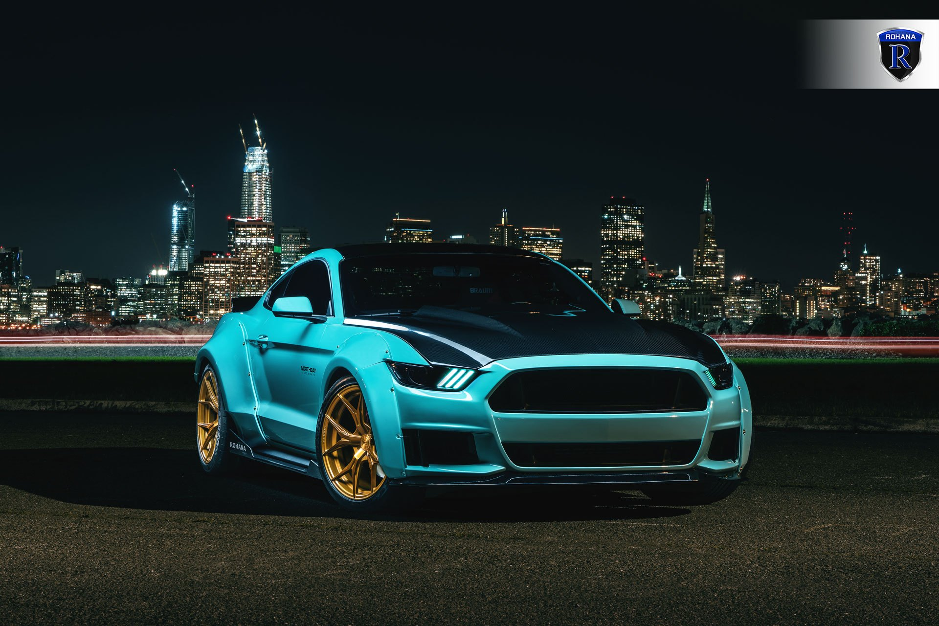 Fresh mint ford mustang s550 with a wide body kit photo by rohana wheels