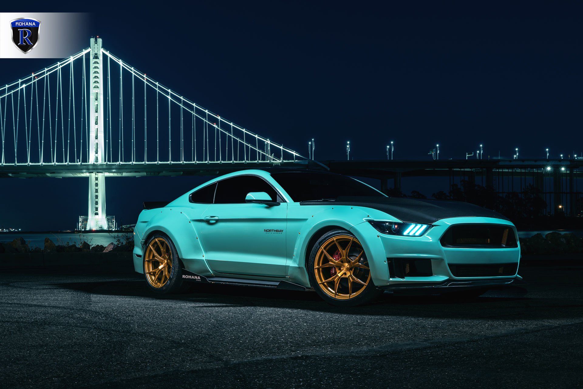Fresh mint ford mustang with a body kit photo by rohana wheels