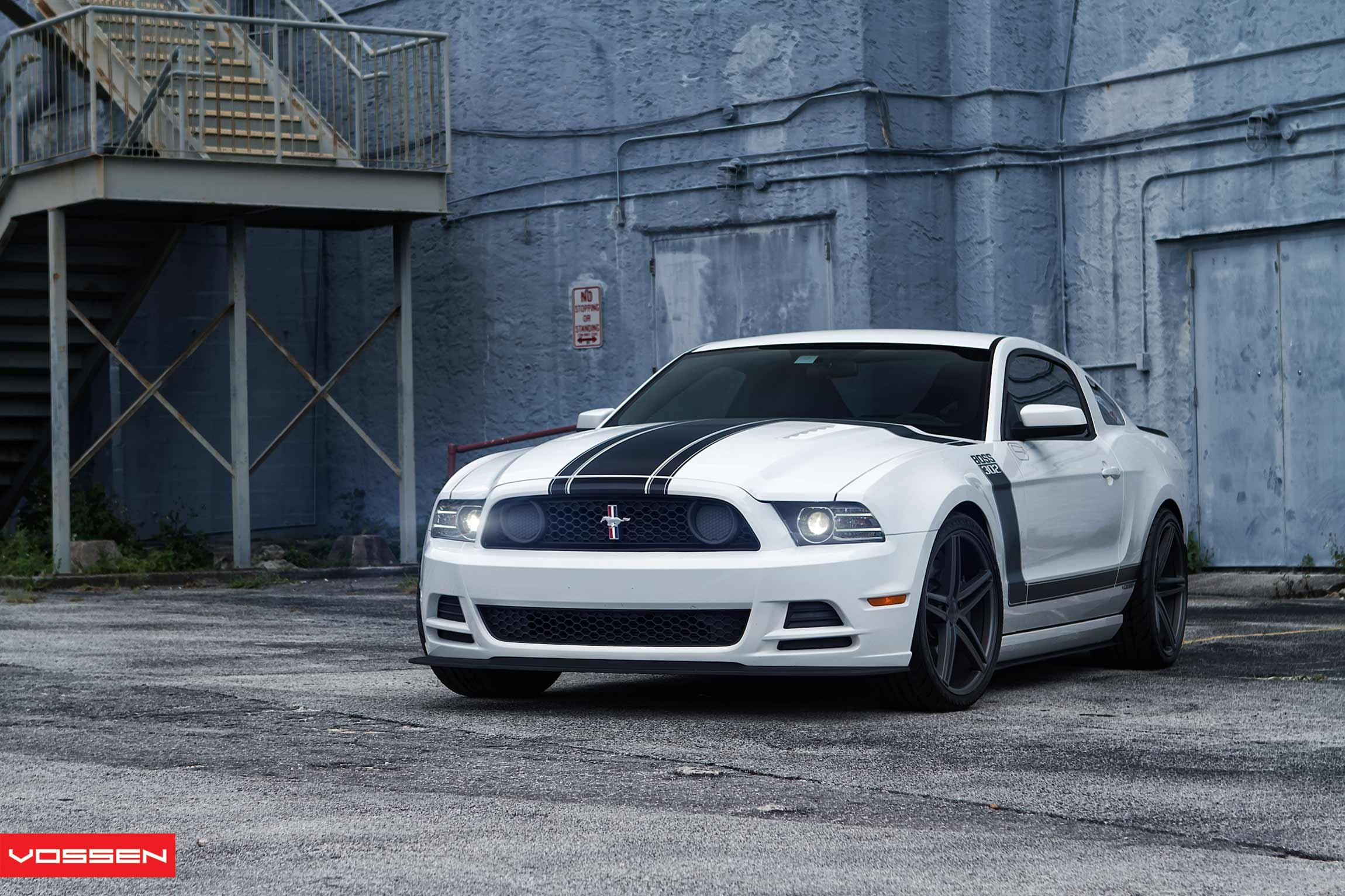 Custom white ford mustang boss 302 with black stripes photo by vossen