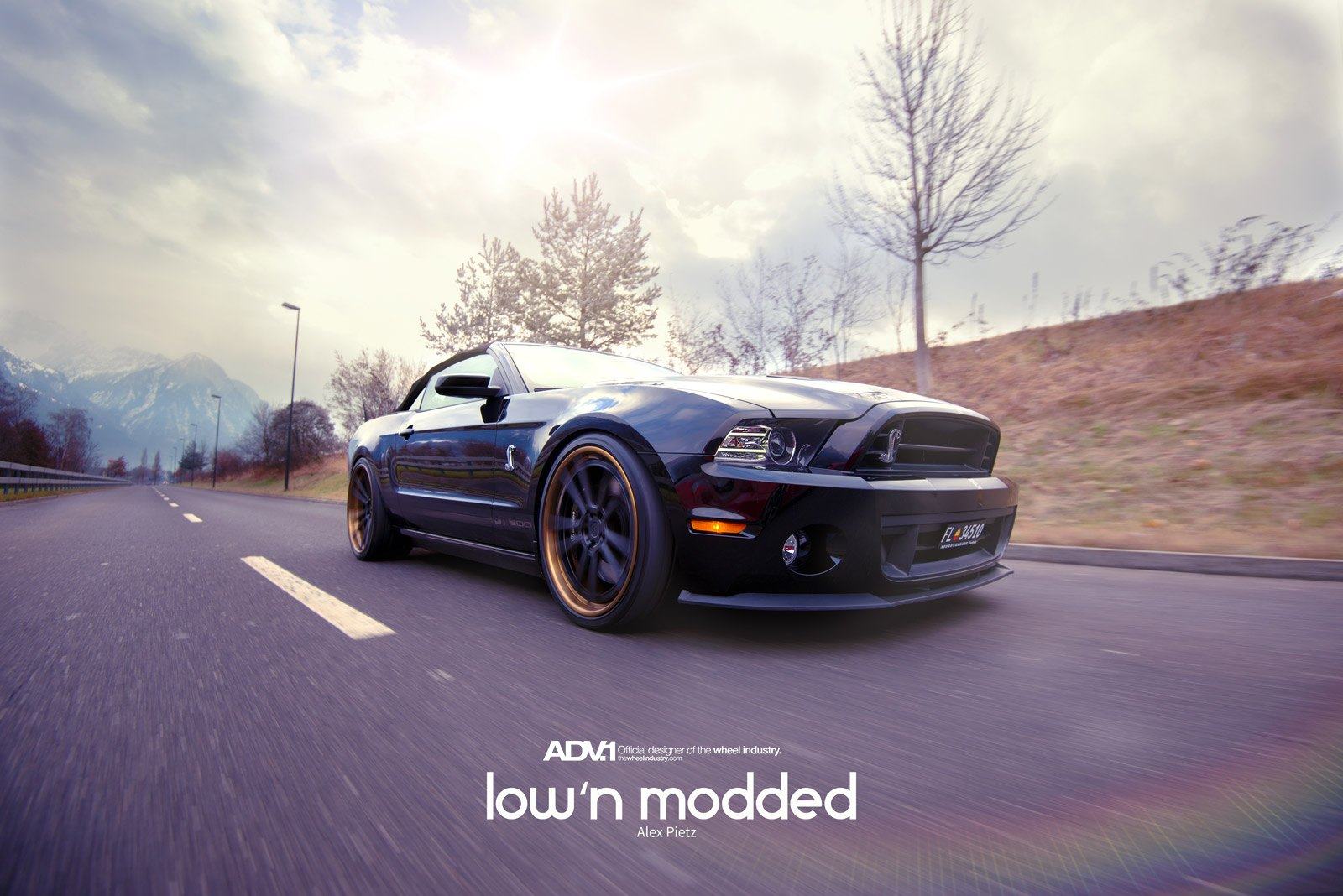 Aftermarket Front Lip on Black Ford Mustang - Photo by ADV.1
