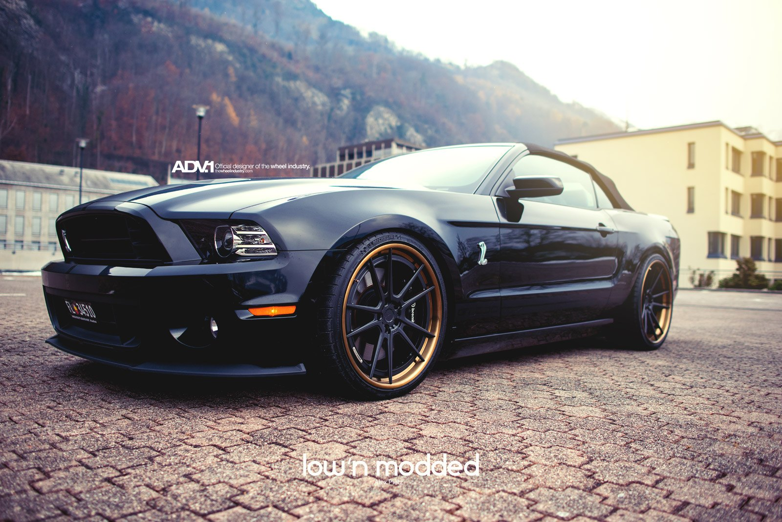 Black Ford Mustang GT500 with Aftermarket Headlights - Photo by ADV.1