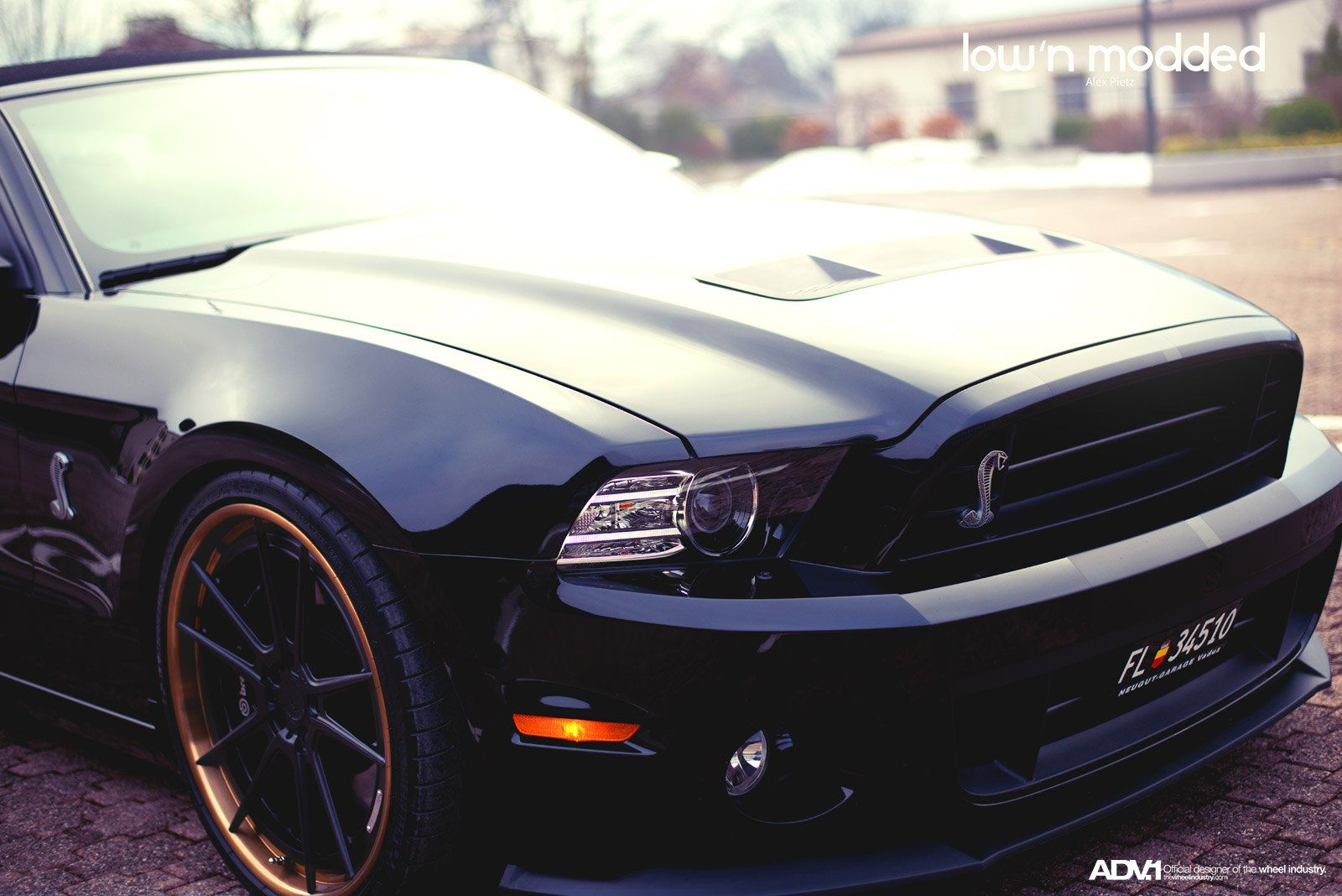ADV1 Rims with Brembo Brakes on Black Ford Mustang - Photo by ADV.1