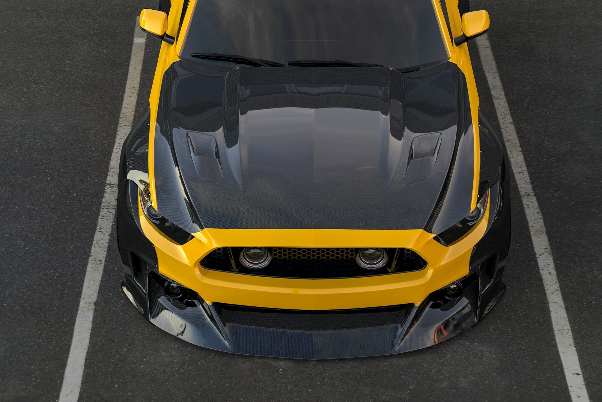 Yellow Ford Mustang with Carbon Fiber Hood - Photo by Clinched