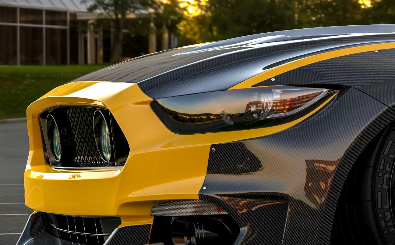 Custom Yellow Ford Mustang with Dark Smoke Headlights - Photo by Clinched