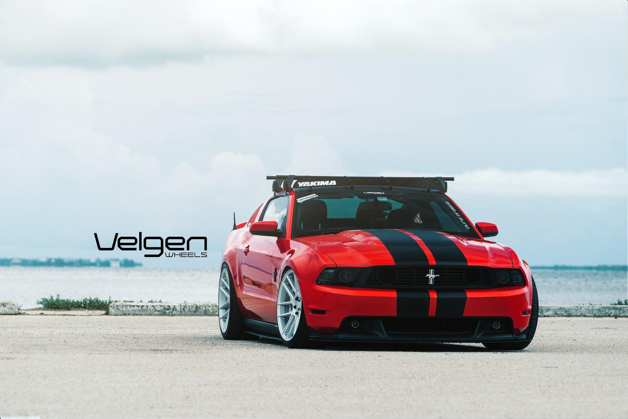 Slammed Mustang Gt With Black Headlights On Velgen Wheels