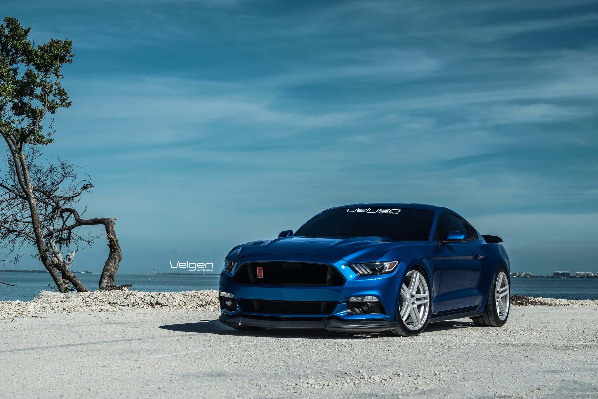 Blue Ford Mustang With Aftermarket Front Lip Photo By Velgen