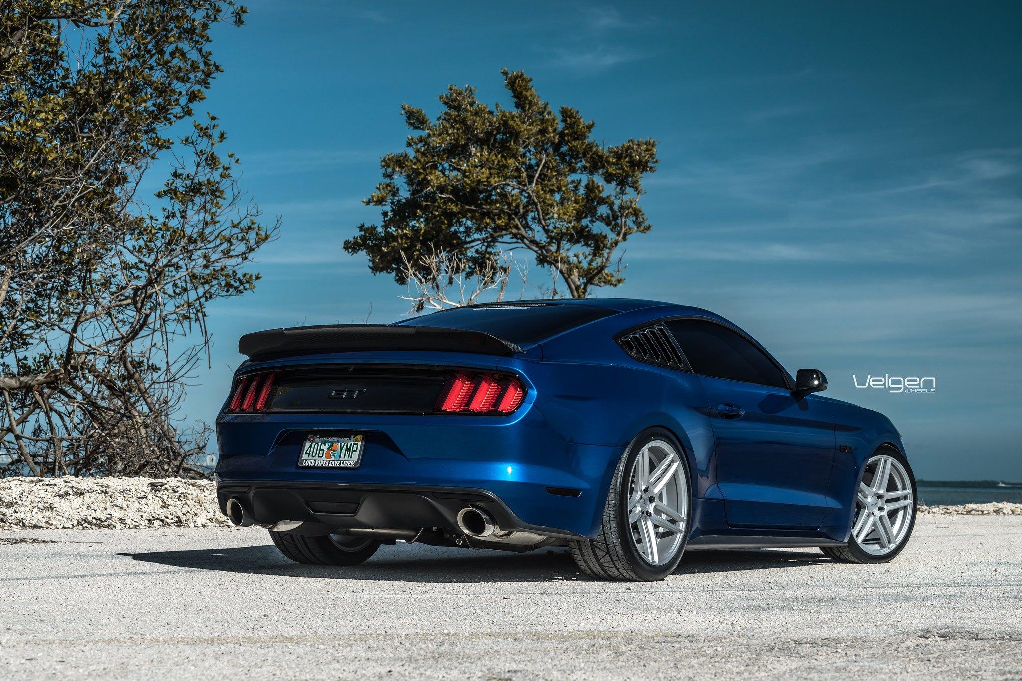 Carbon Fiber Rear Lip Spoiler On Blue Ford Mustang Photo By Velgen
