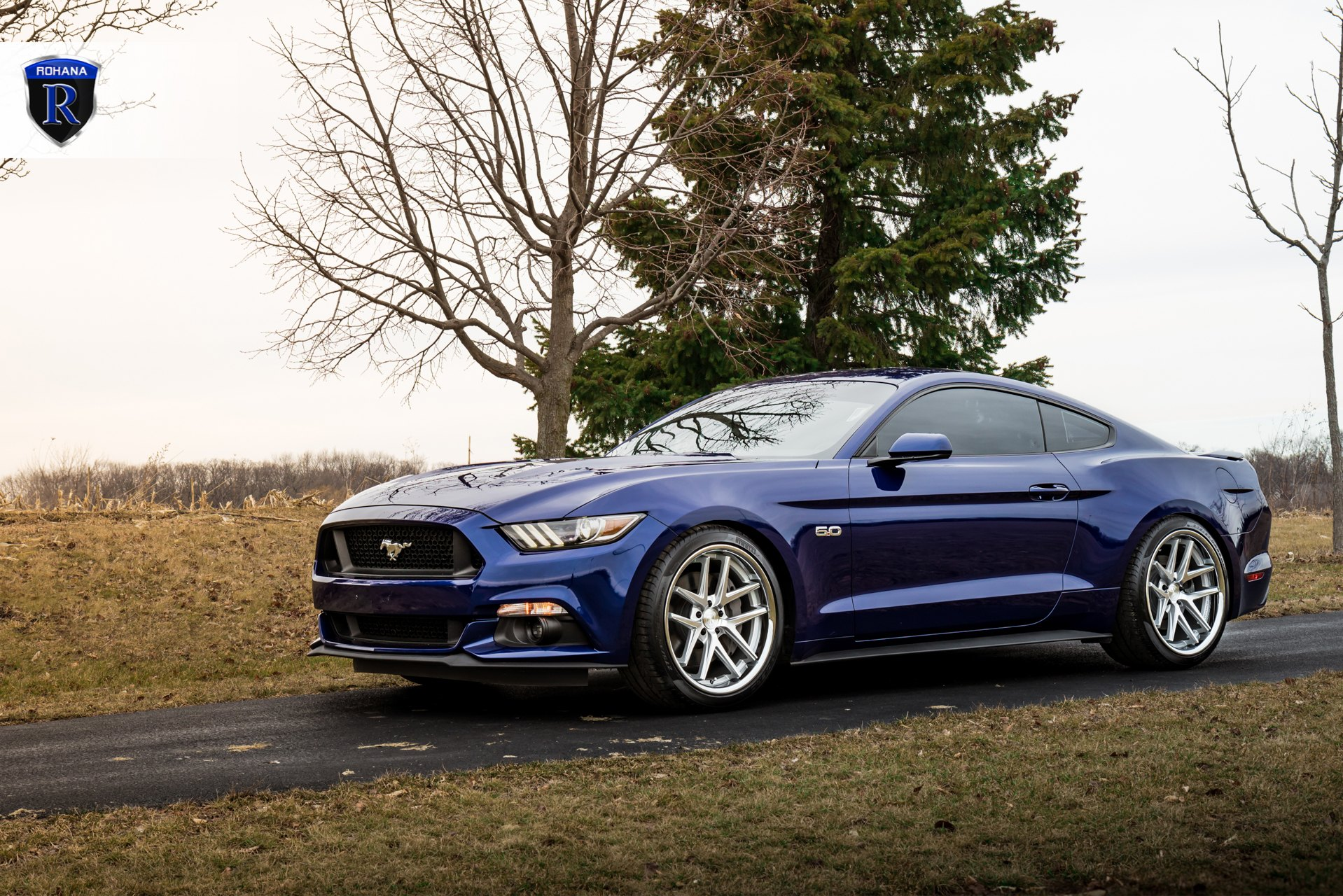 Dark Blue Ford Mustang Enhanced With Projector Headlights And Rohana