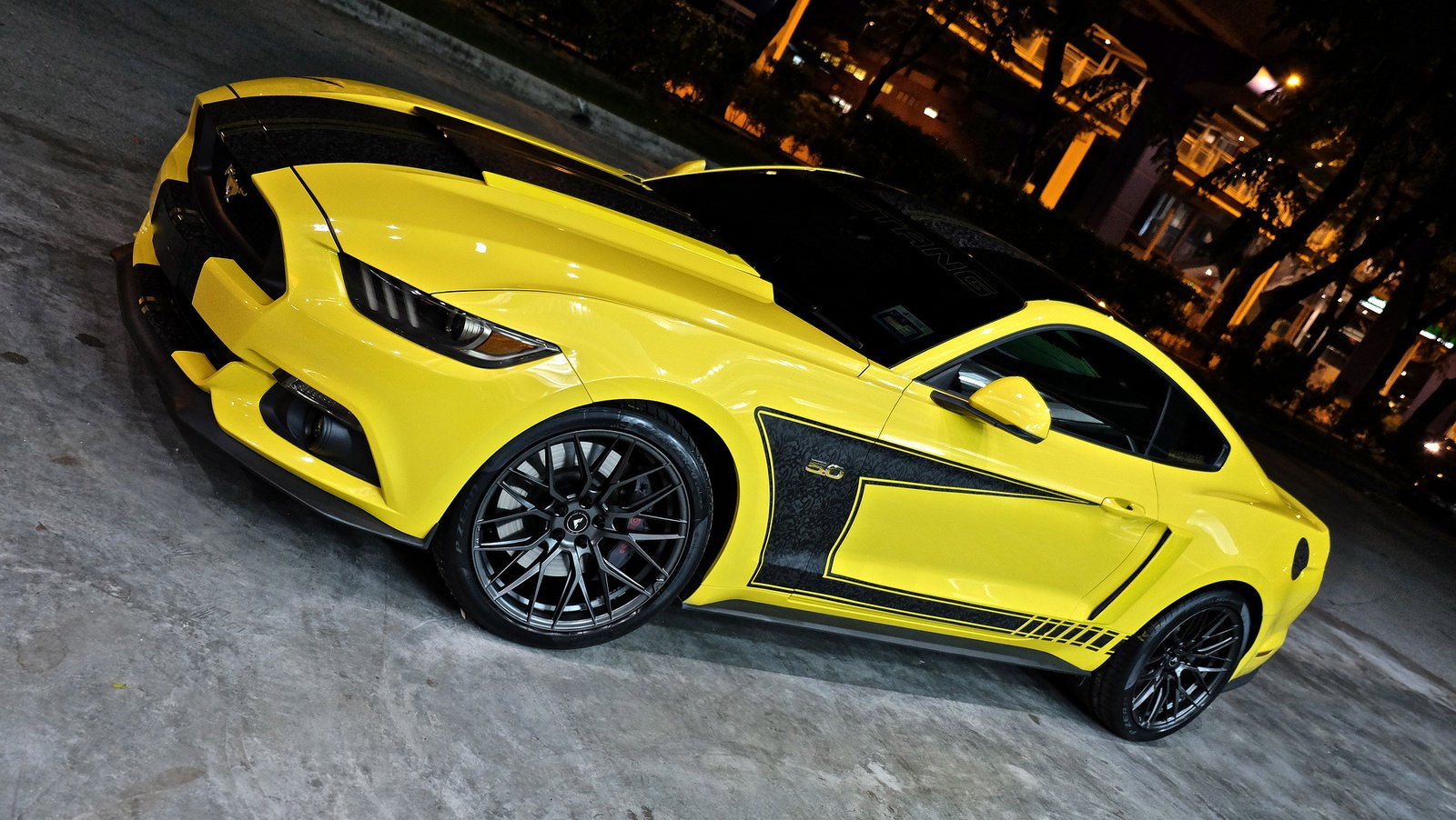 Custom Vented Hood on Yellow Ford Mustang 5.0 - Photo by Vorsteiner