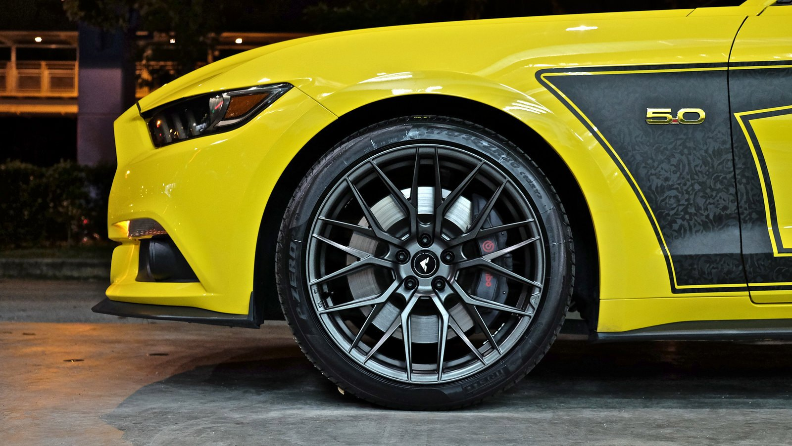 Vorsteiner Rims with Brembo Brakes on Yellow Ford Mustang - Photo by Vorsteiner