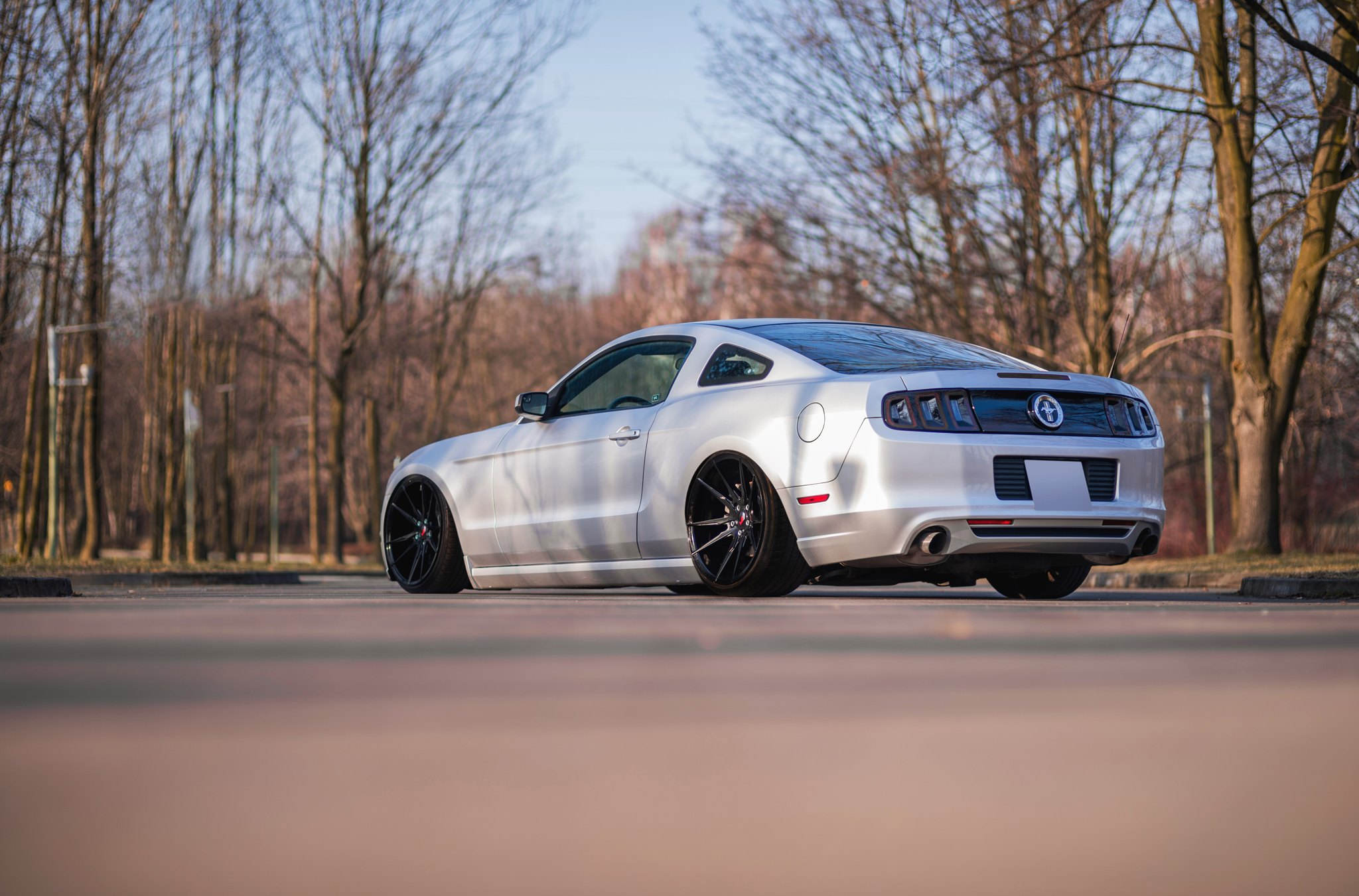 Solid Gray Ford Mustang Has Its Face Revised With Front Bumper And Rear Diffuser Aftermarket Photo By Jr Wheels