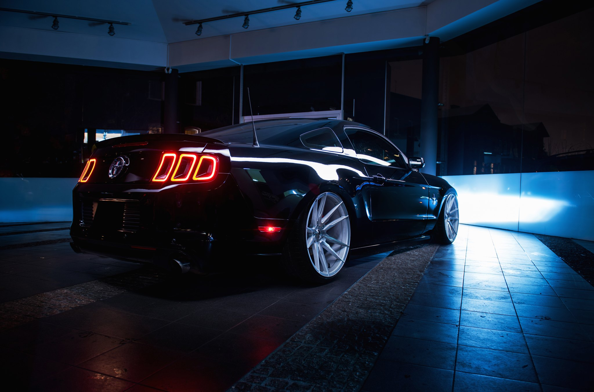 Black Ford Mustang with Custom Taillights - Photo by JR Wheels