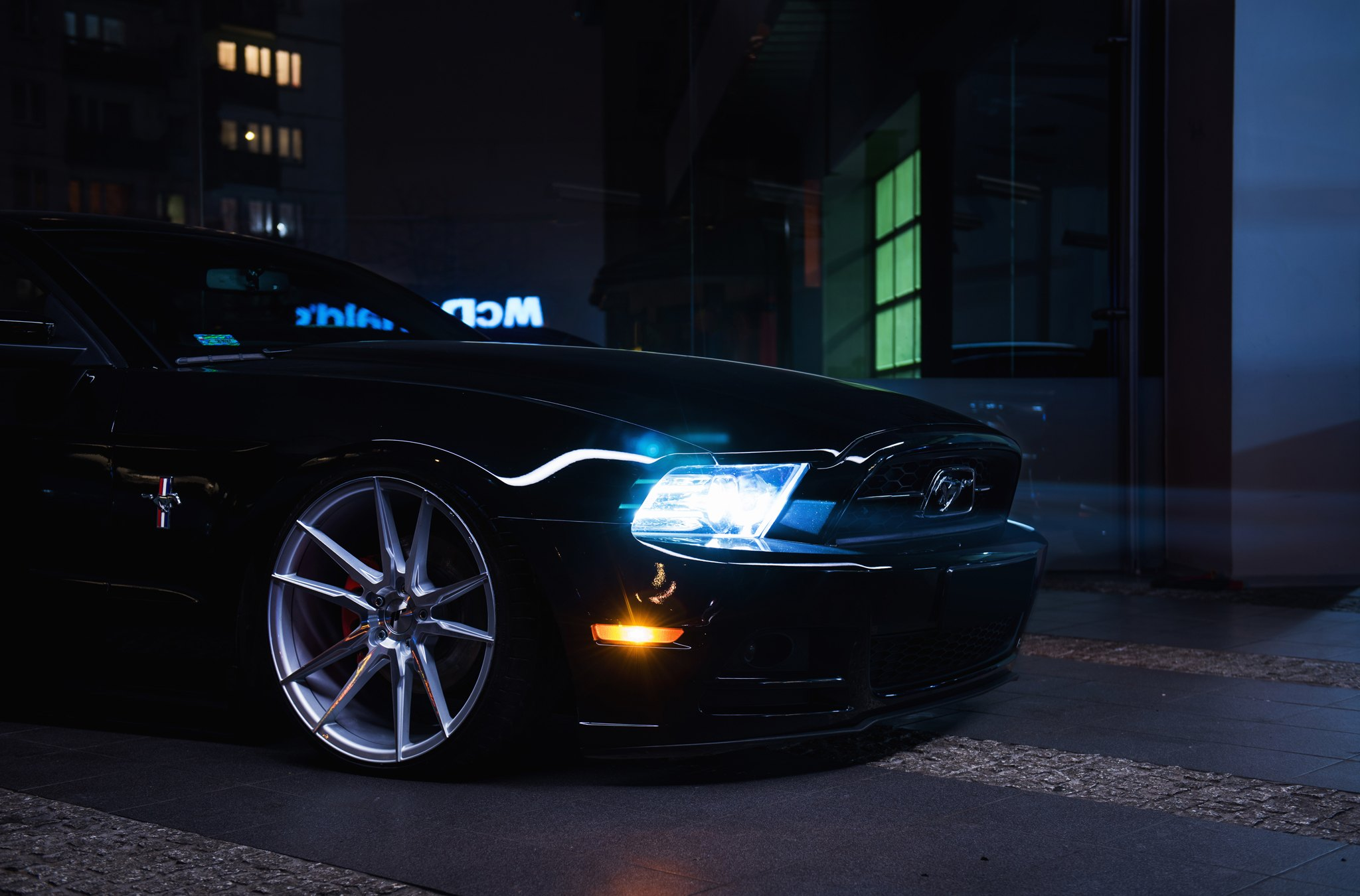 Black Ford Mustang with Aftermarket Front Bumper - Photo by JR Wheels