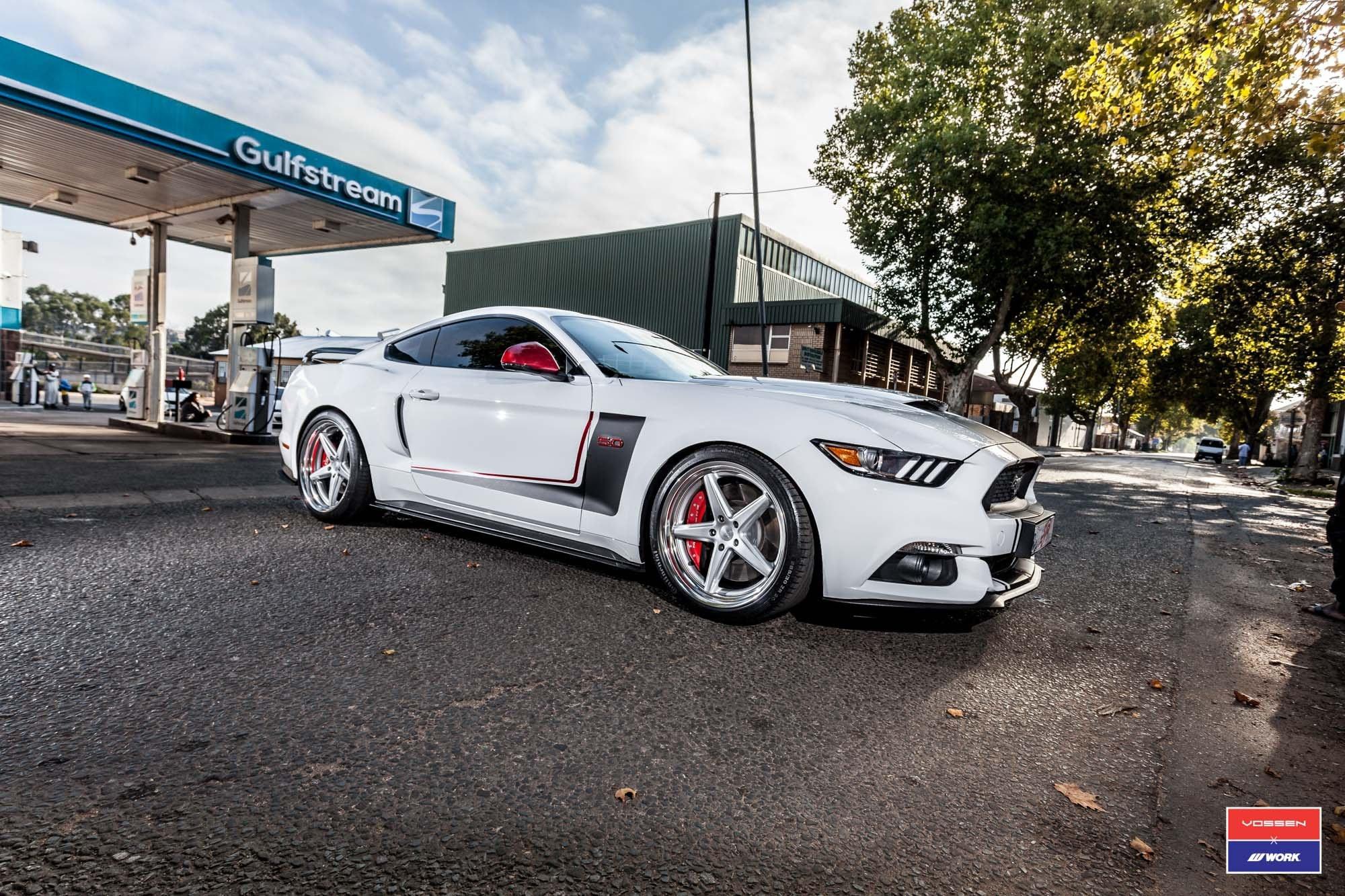 Custom White Ford Mustang GT Side Scoops - Photo by Vossen