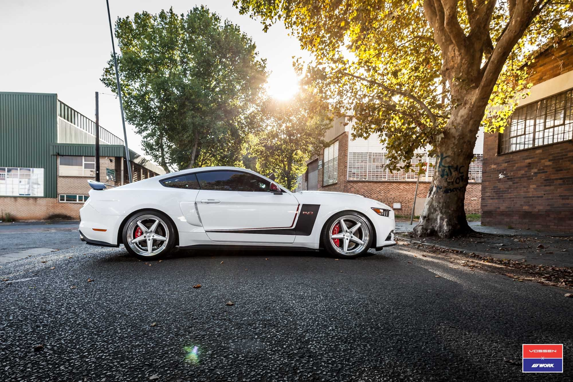 Chrome Vossen Wheels on White Ford Mustang 5.0 - Photo by Vossen