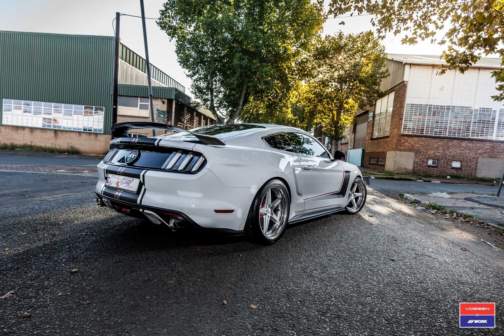 White Ford Mustang GT with Aftermarket Rear Diffuser - Photo by Vossen