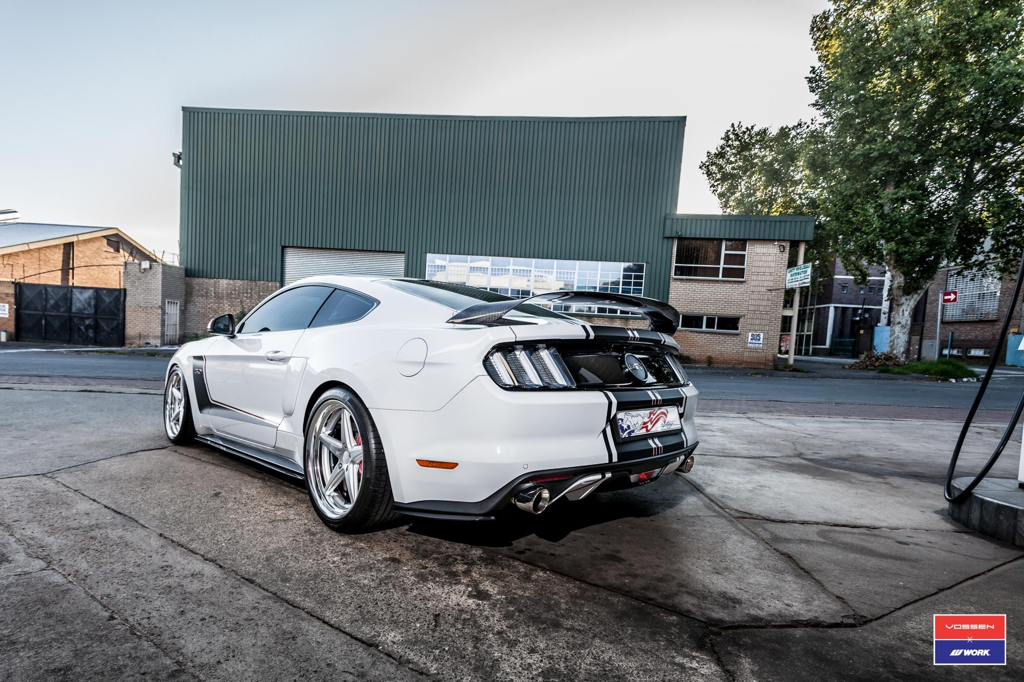 Carbon Fiber Rear Spoiler on White Ford Mustang - Photo by Vossen