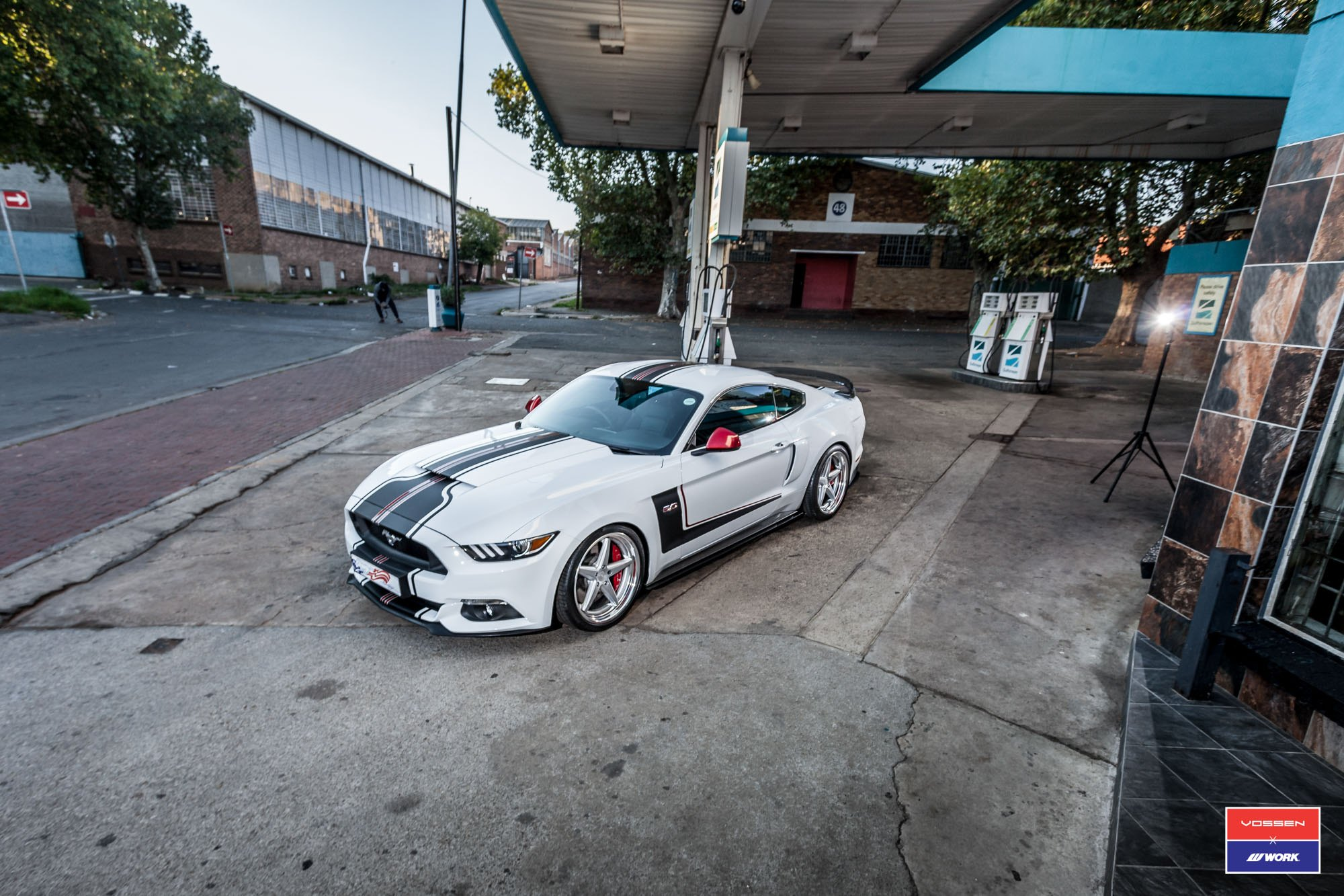 White Ford Mustang GT with Aftermarket Vented Hood - Photo by Vossen