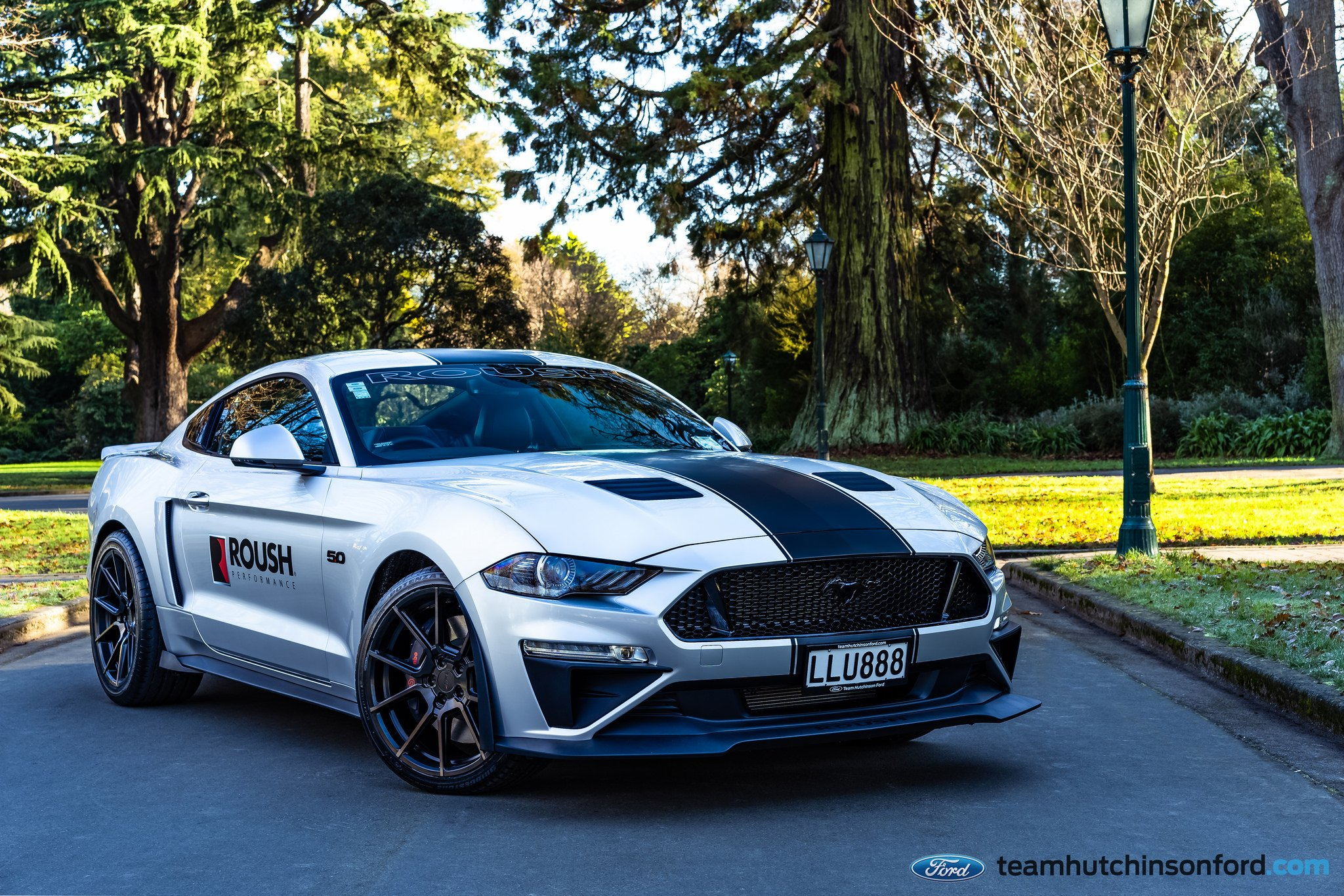 Roush performance body kit on white ford mustang 5 0 photo by tsw wheels