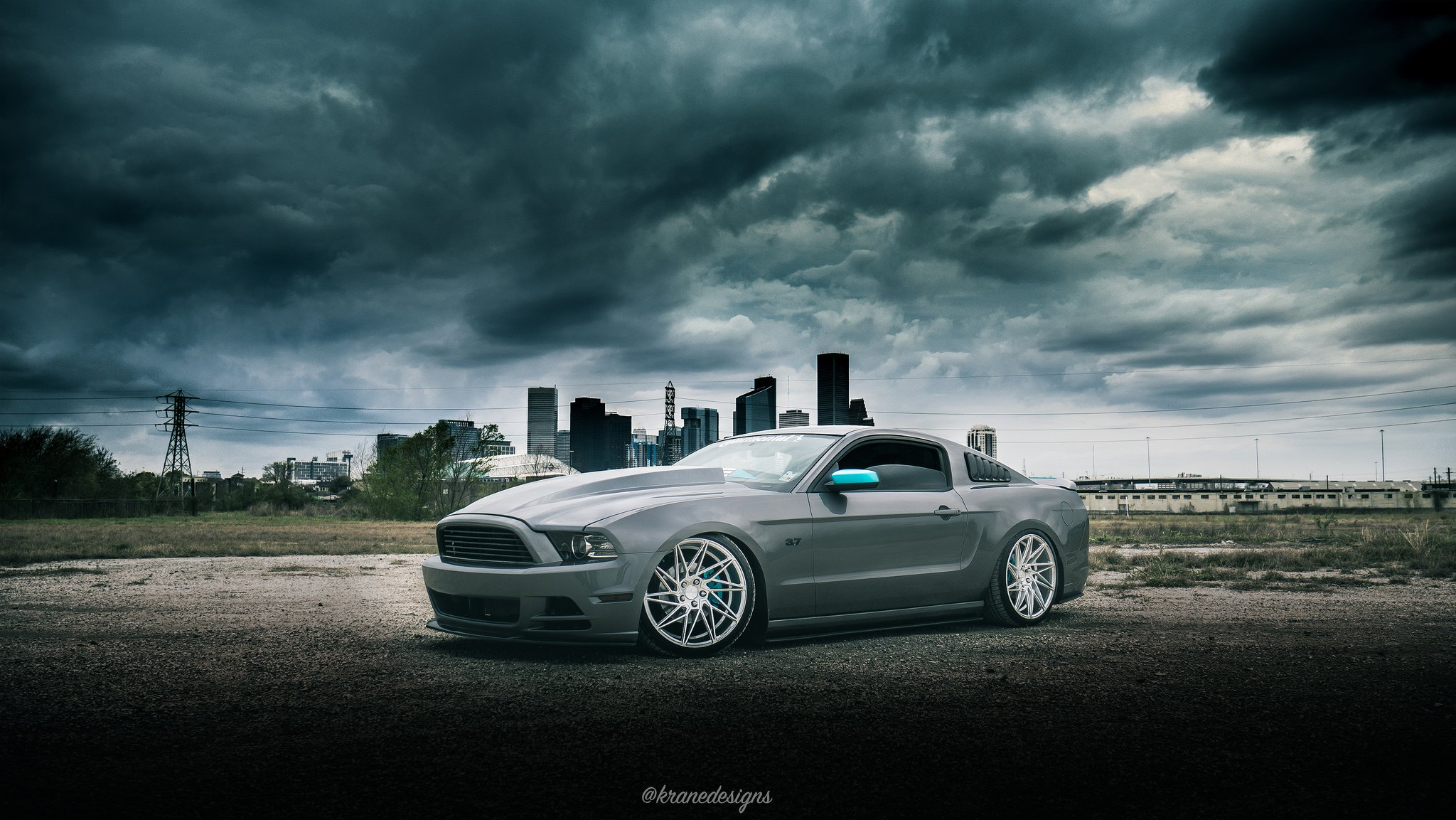 Slammed V6 Mustang With A Cowl Hood And Air Suspension