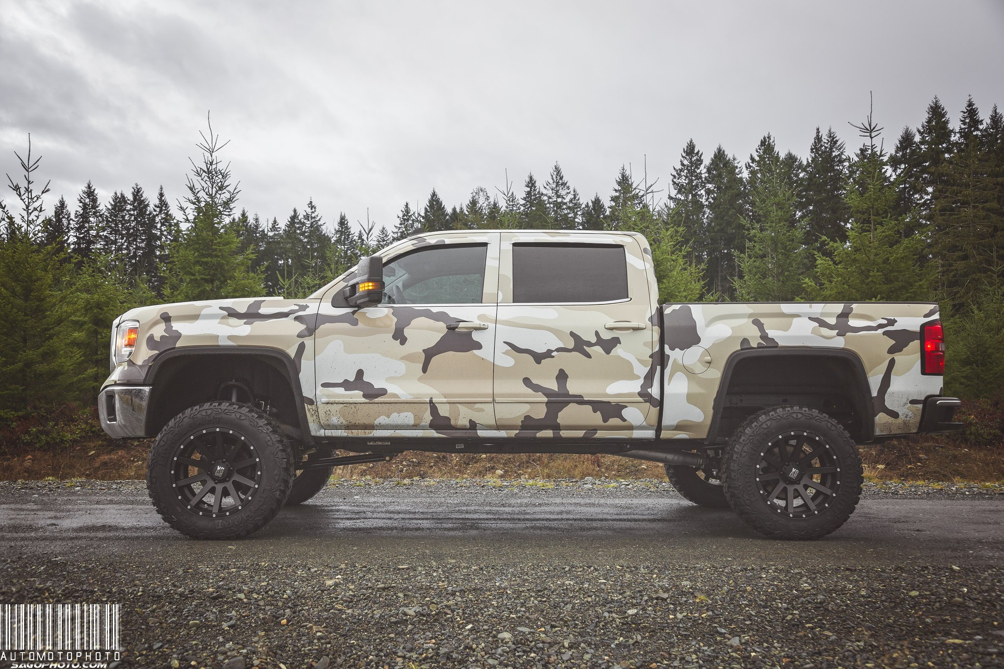 Desert Camo Print Wrap on GMC Sierra - Photo by Sage Goulet (SAGO PHOTO)