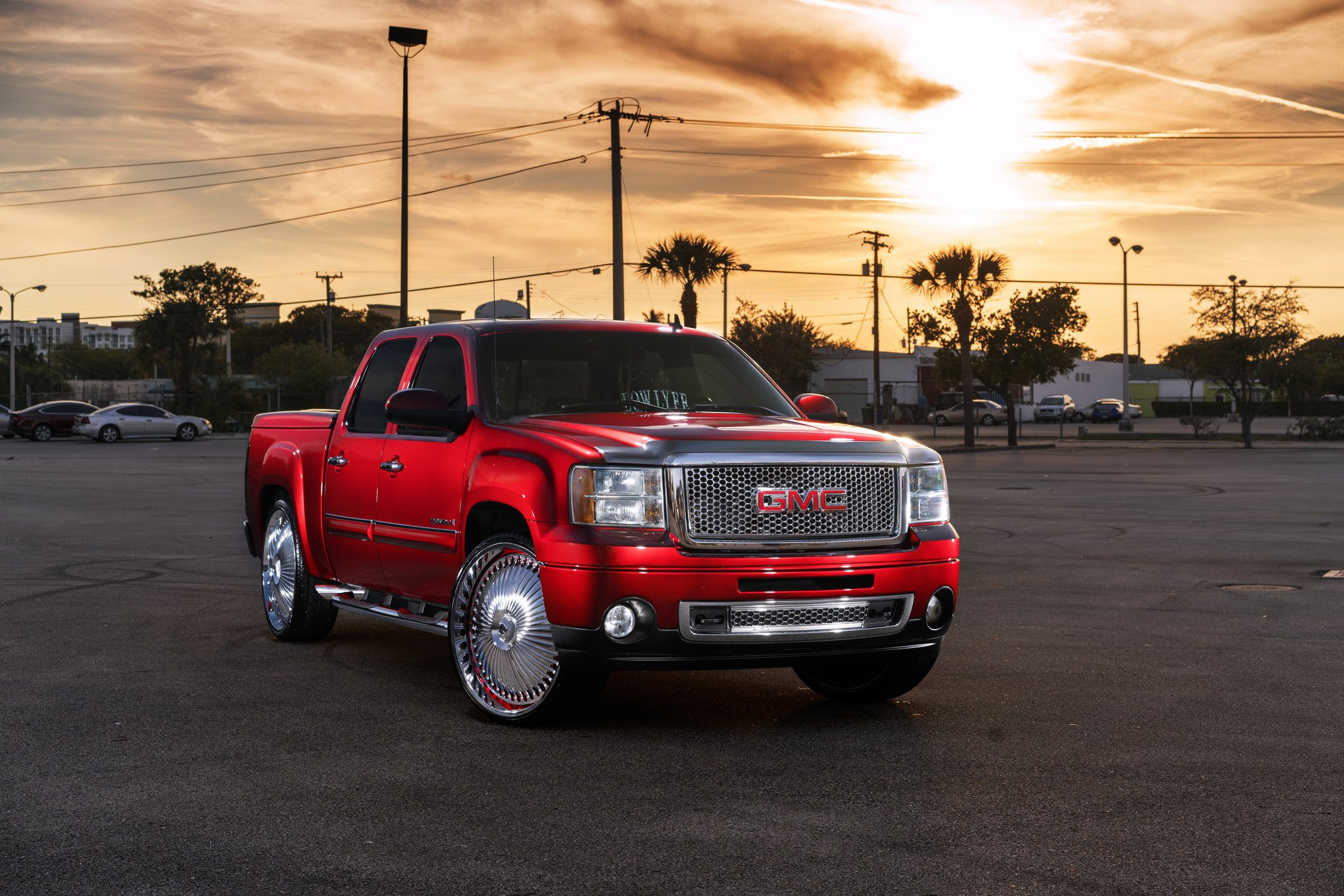 Candy Red Gmc Sierra On Dub Spinners Wheels Carid Com Gallery